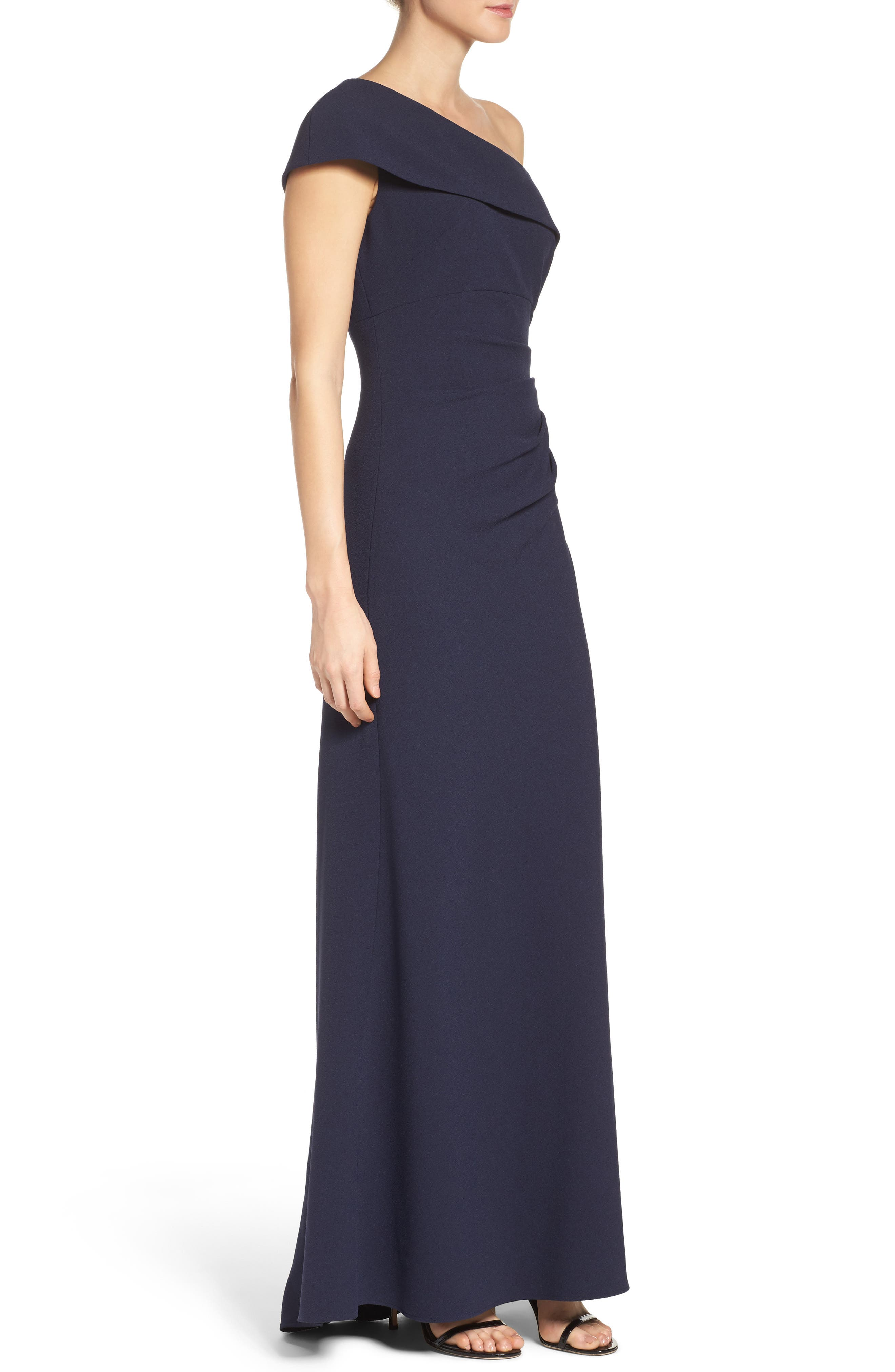 One-Shoulder Crepe Gown,                             Alternate thumbnail 6, color,