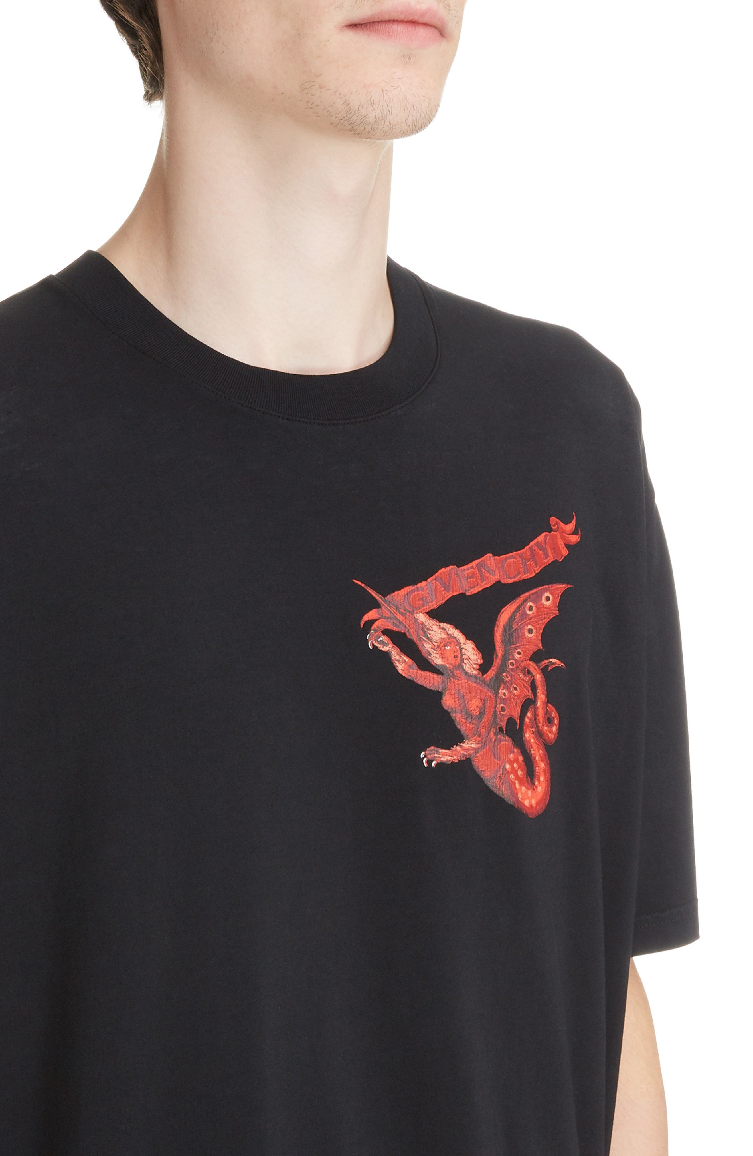 Winged Beast Graphic T-Shirt,                             Alternate thumbnail 4, color,                             BLACK