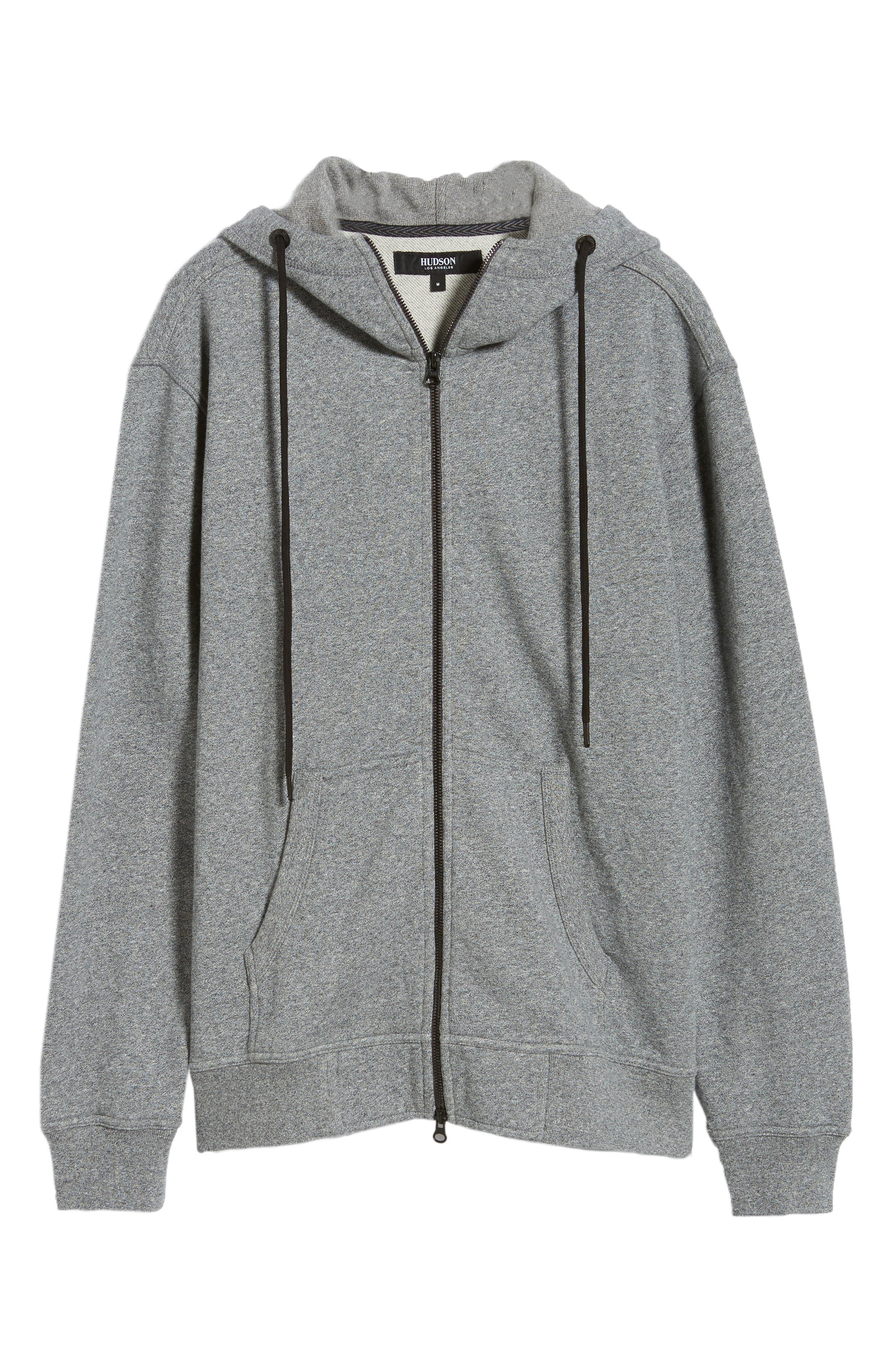 Regular Fit Hooded Zip Sweatshirt,                             Alternate thumbnail 6, color,                             HEATHER GREY