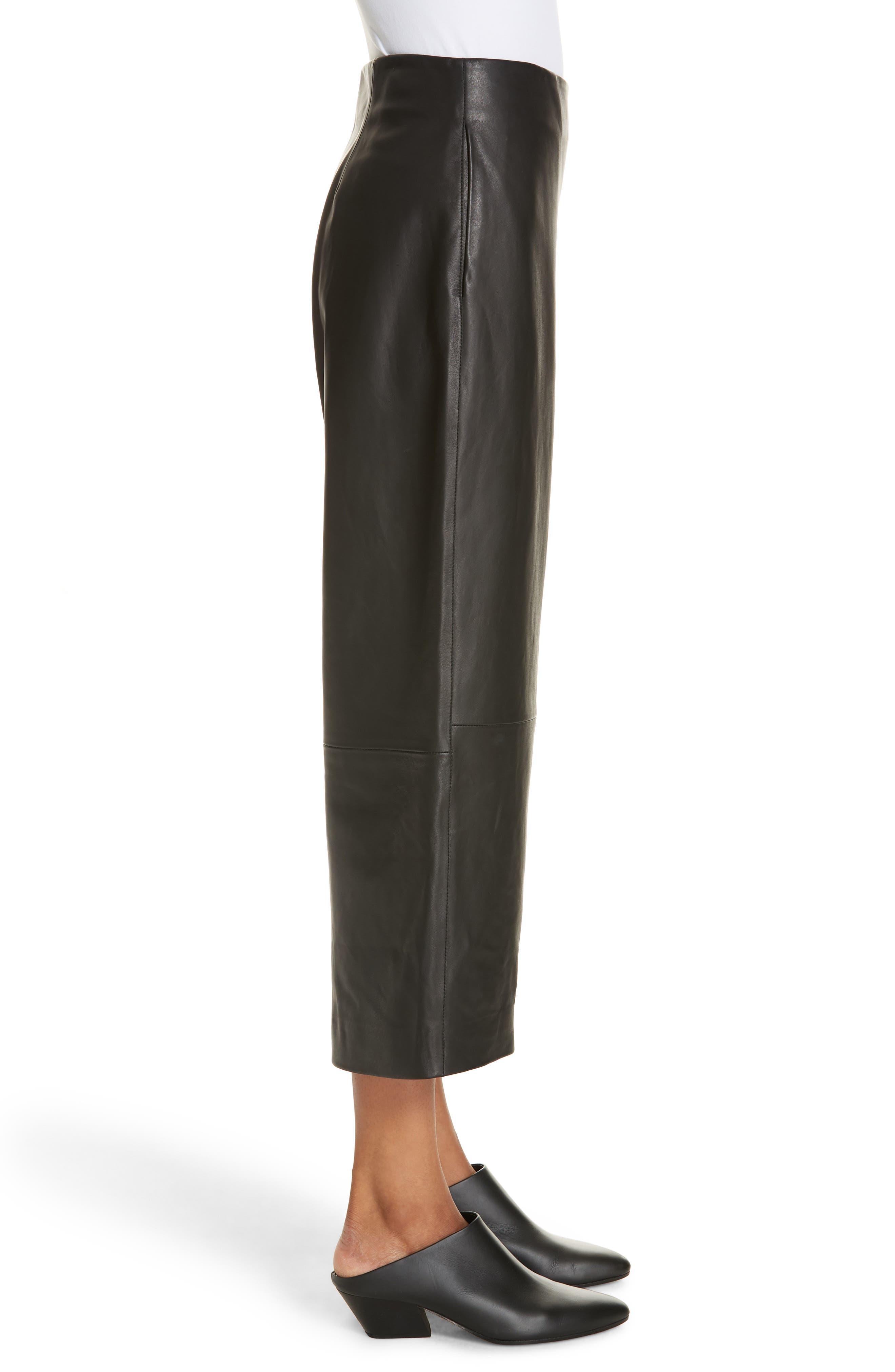 Wide Leg Crop Leather Pants,                             Alternate thumbnail 3, color,                             BLACK