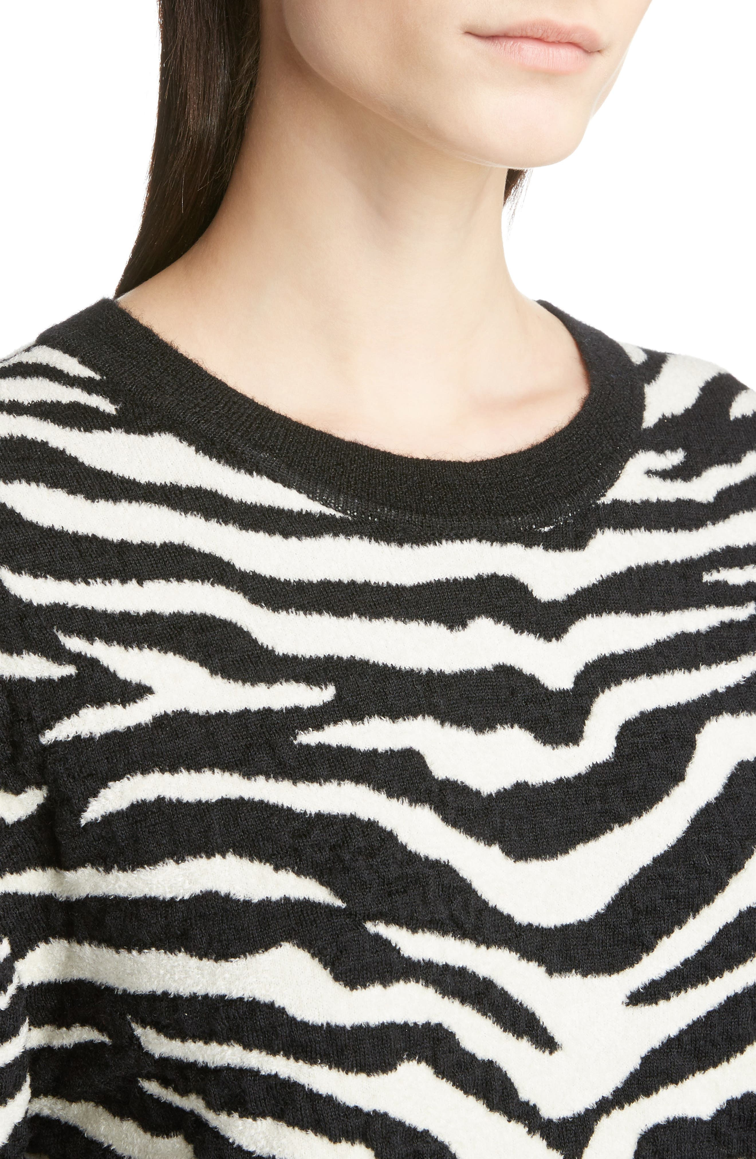 Tiger Knit Sweater,                             Alternate thumbnail 4, color,                             001