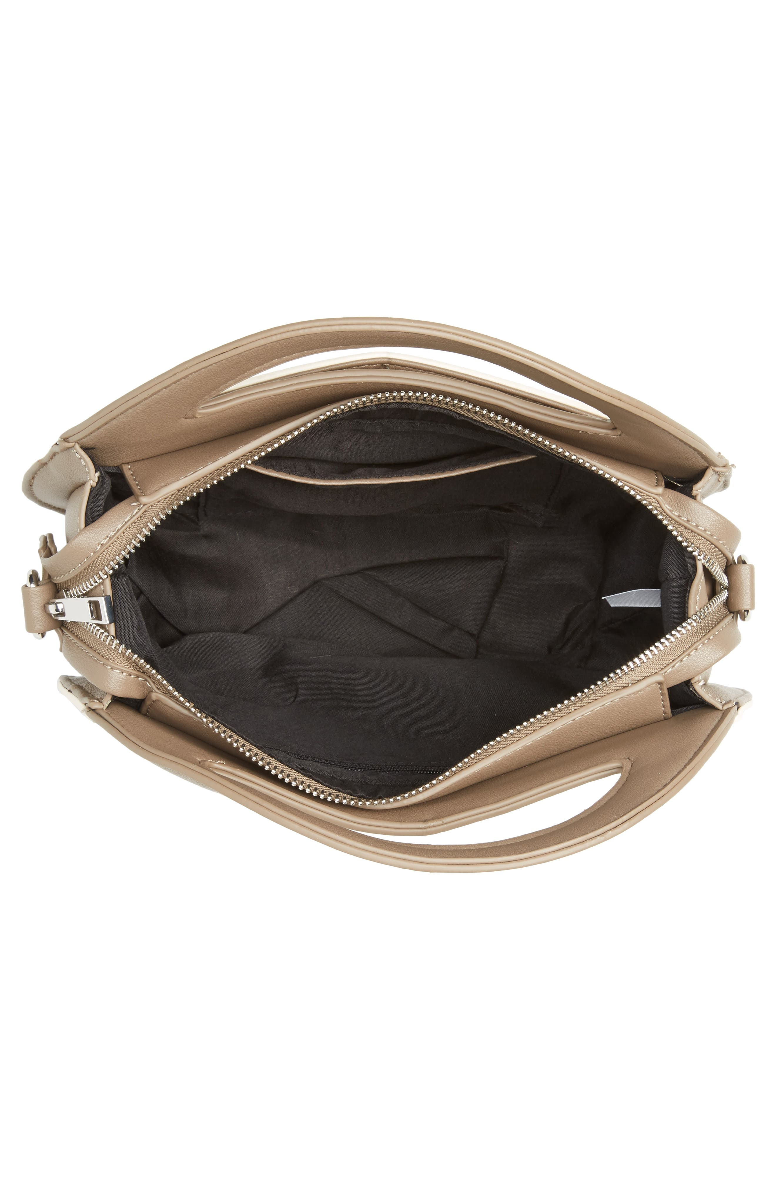 Two-Tone Faux Leather Oval Crossbody Bag,                             Alternate thumbnail 4, color,                             250