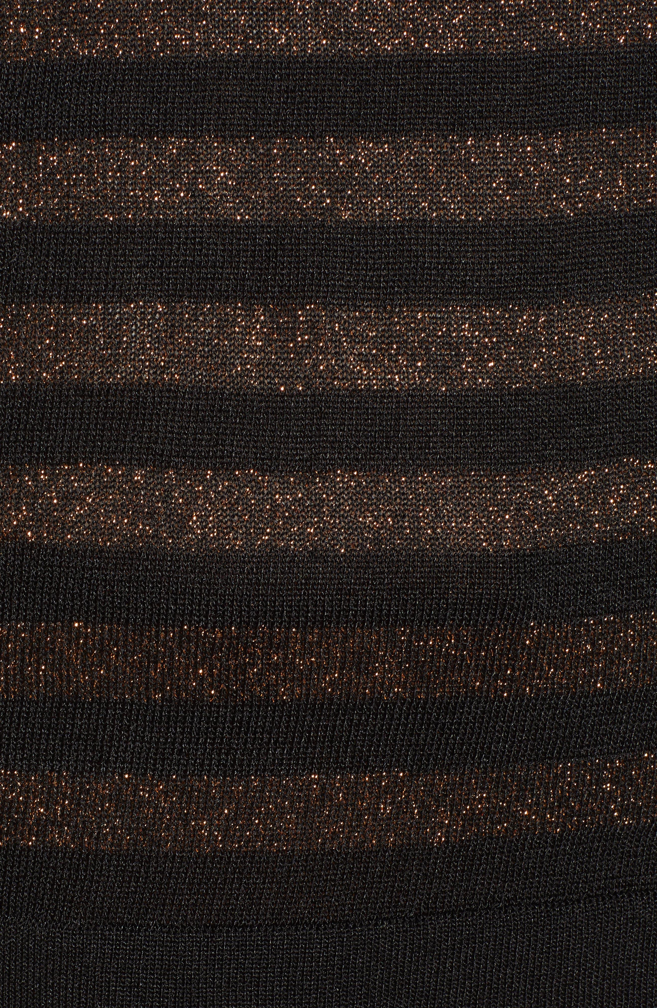 Metallic Stripe Bow Front Sweater,                             Alternate thumbnail 5, color,                             ANNE BLACK/ COPPER