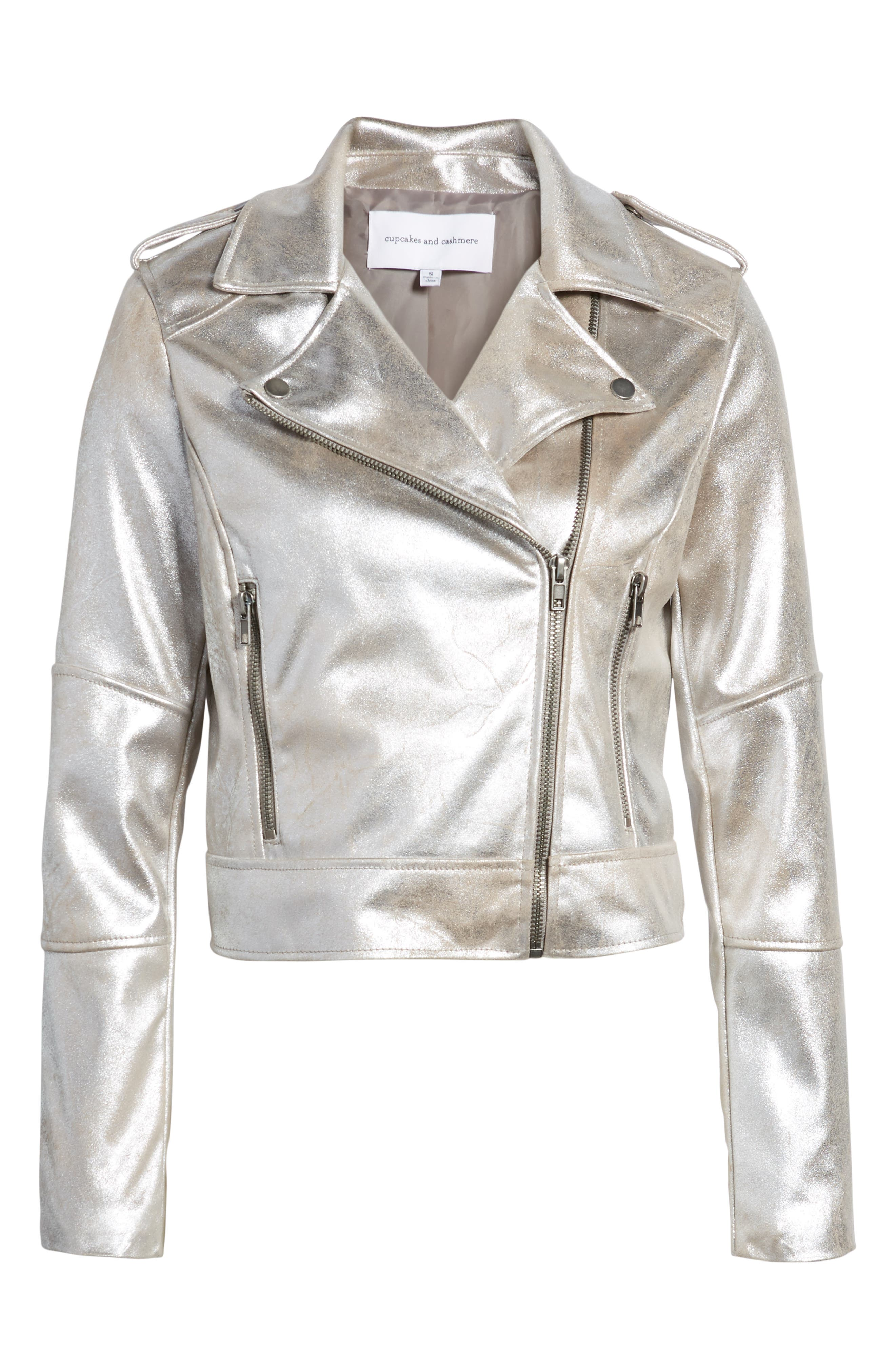 CUPCAKES AND CASHMERE,                             Foiled Faux Suede Moto Jacket,                             Alternate thumbnail 6, color,                             SILVER TOFFEE