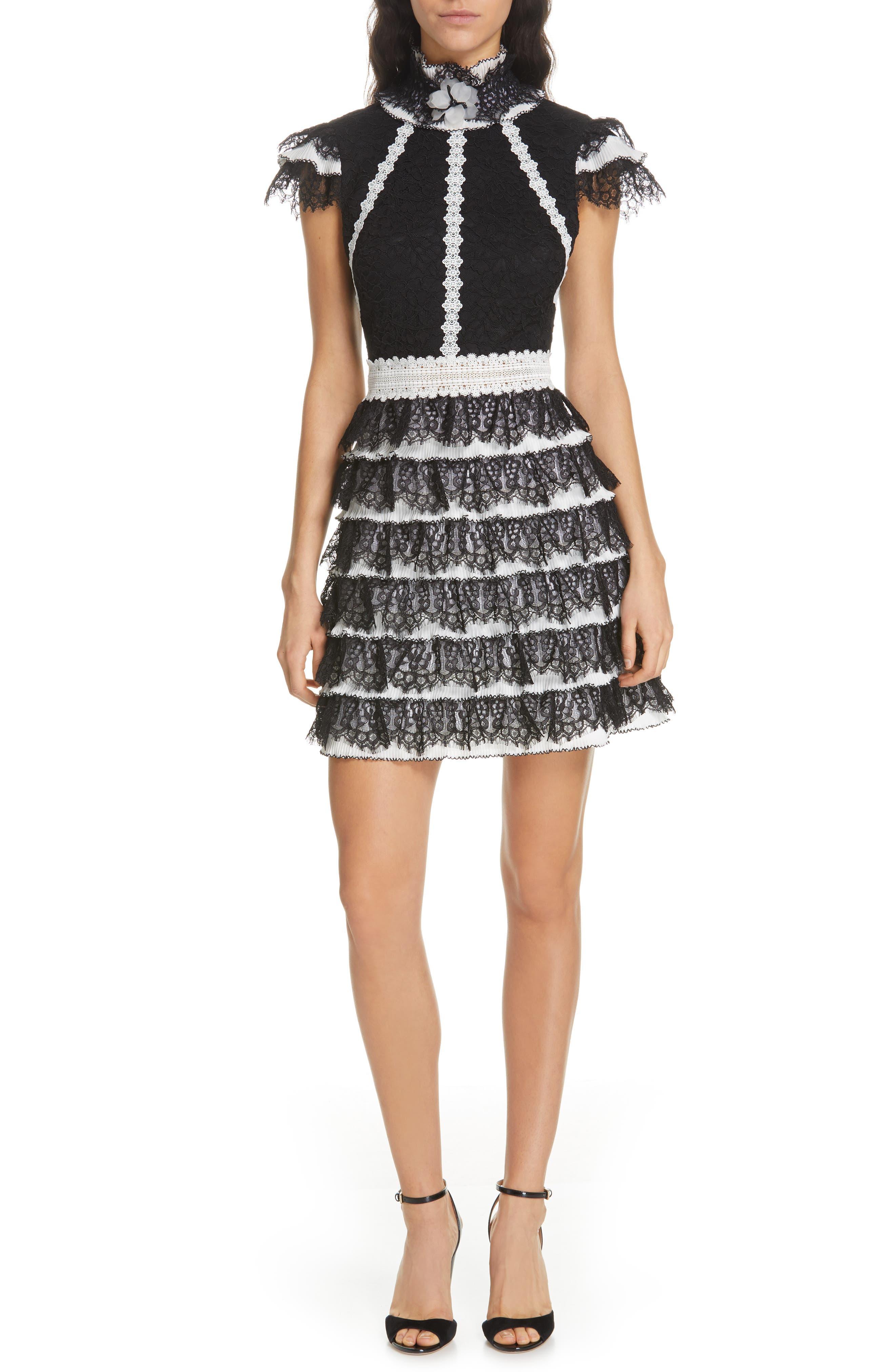 Alice + Olivia Cyra Ruffle Lace Minidress, Black