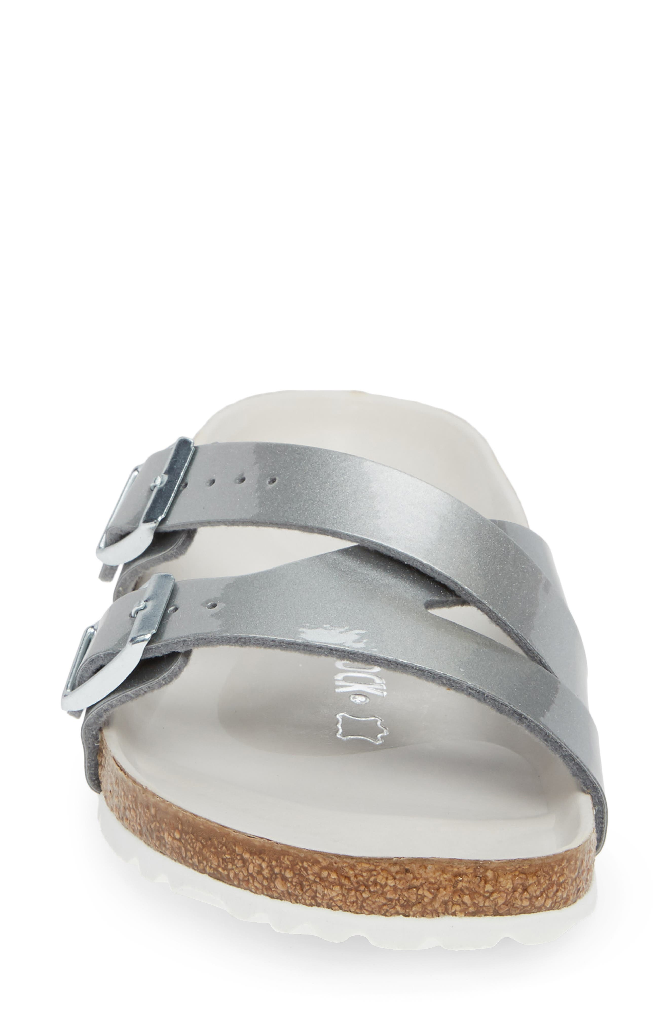 BIRKENSTOCK,                             Yao Metallic Slide Sandal,                             Alternate thumbnail 4, color,                             METALLIC SILVER