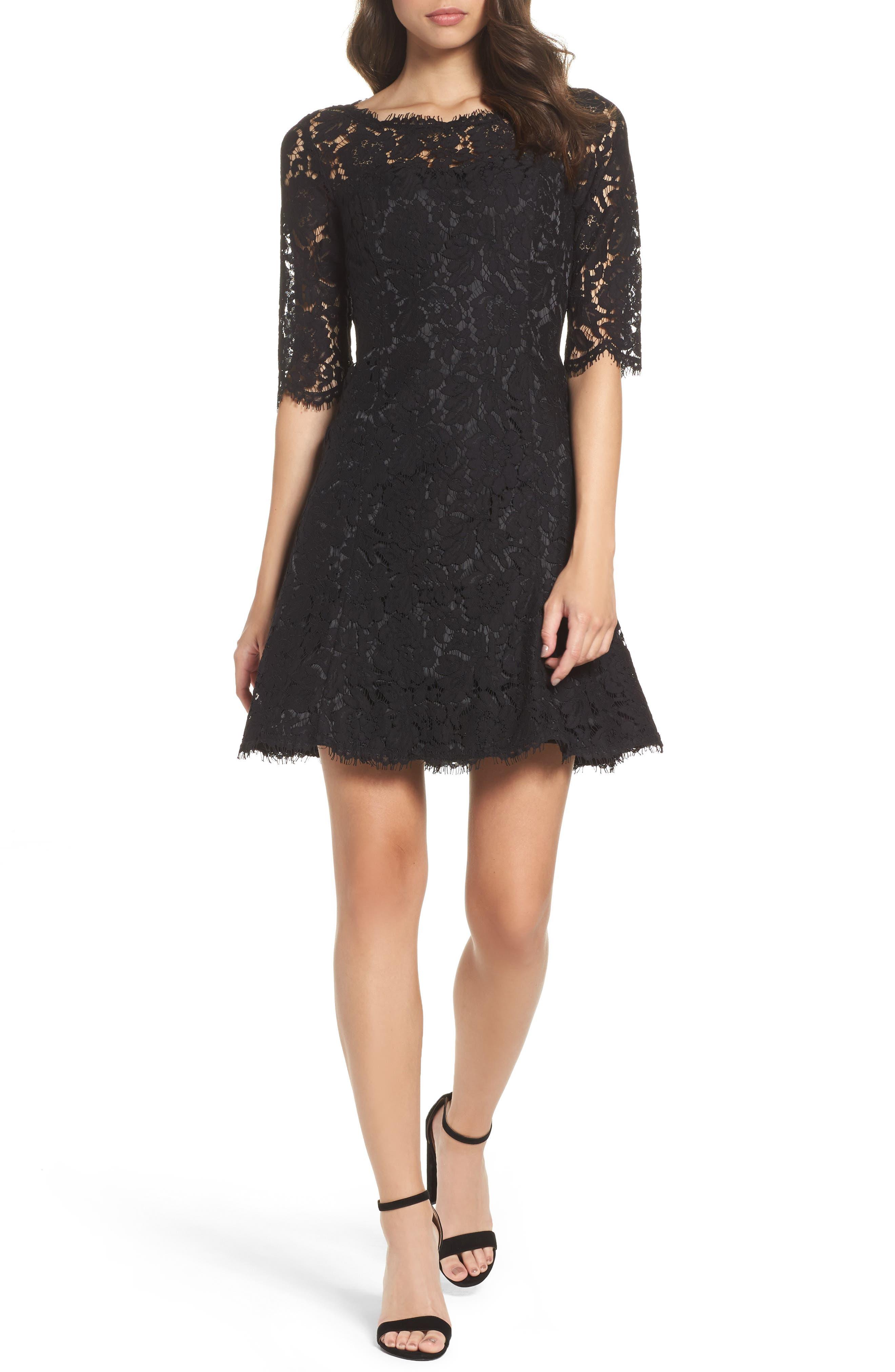 Lace Fit & Flare Cocktail Dress,                             Main thumbnail 1, color,                             BLACK