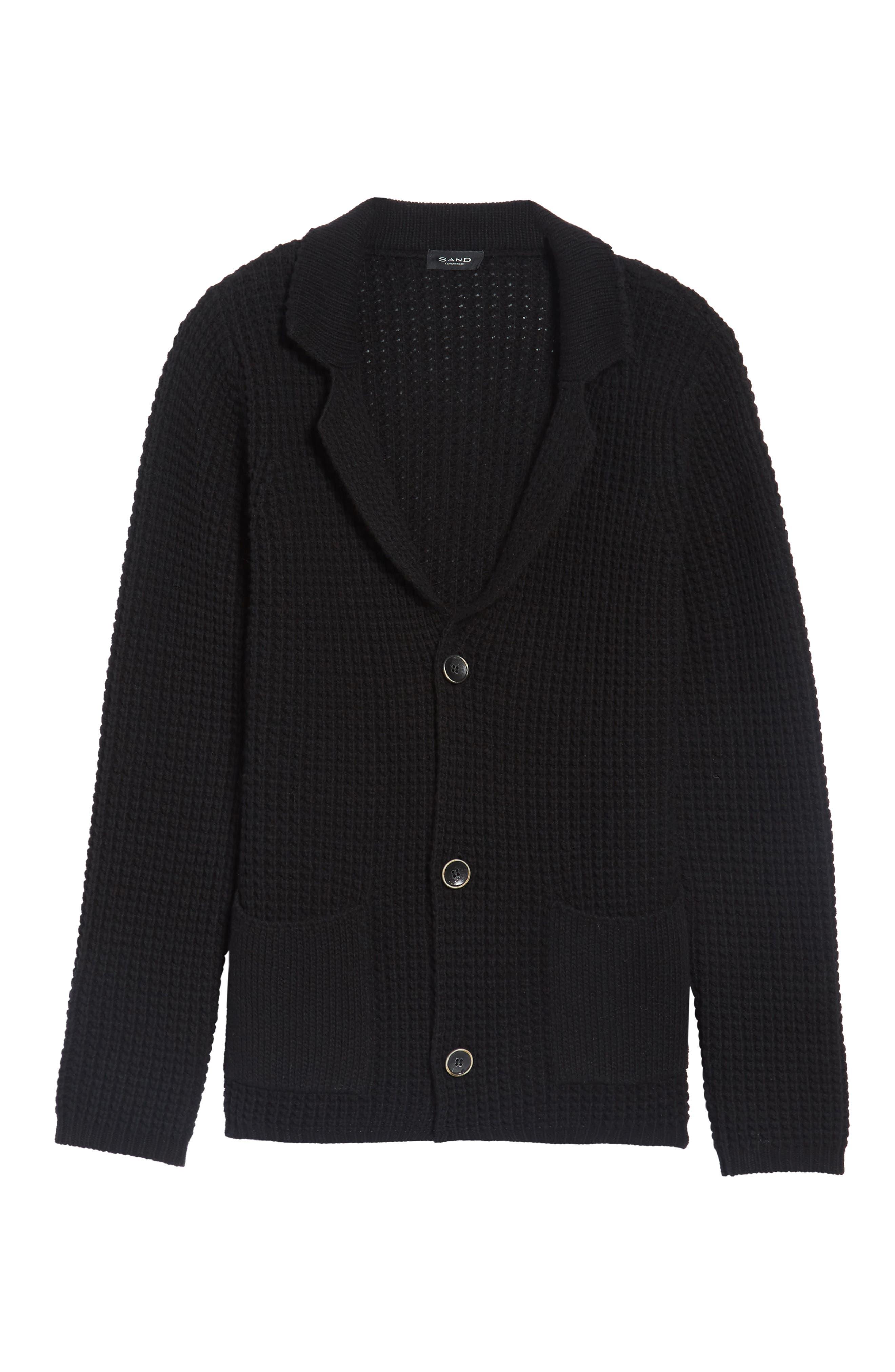 Trim Fit Knit Cardigan Jacket,                             Alternate thumbnail 6, color,                             001