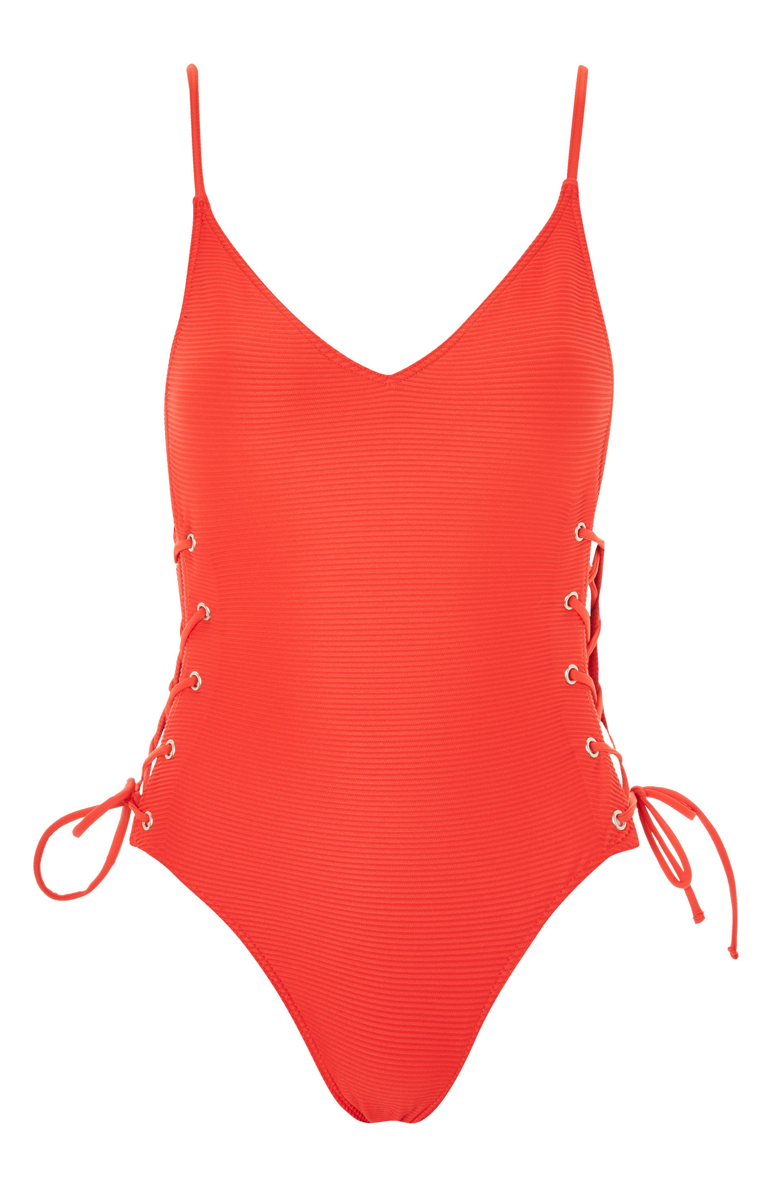 Ribbed Eyelet One-Piece Swimsuit,                             Alternate thumbnail 3, color,                             600