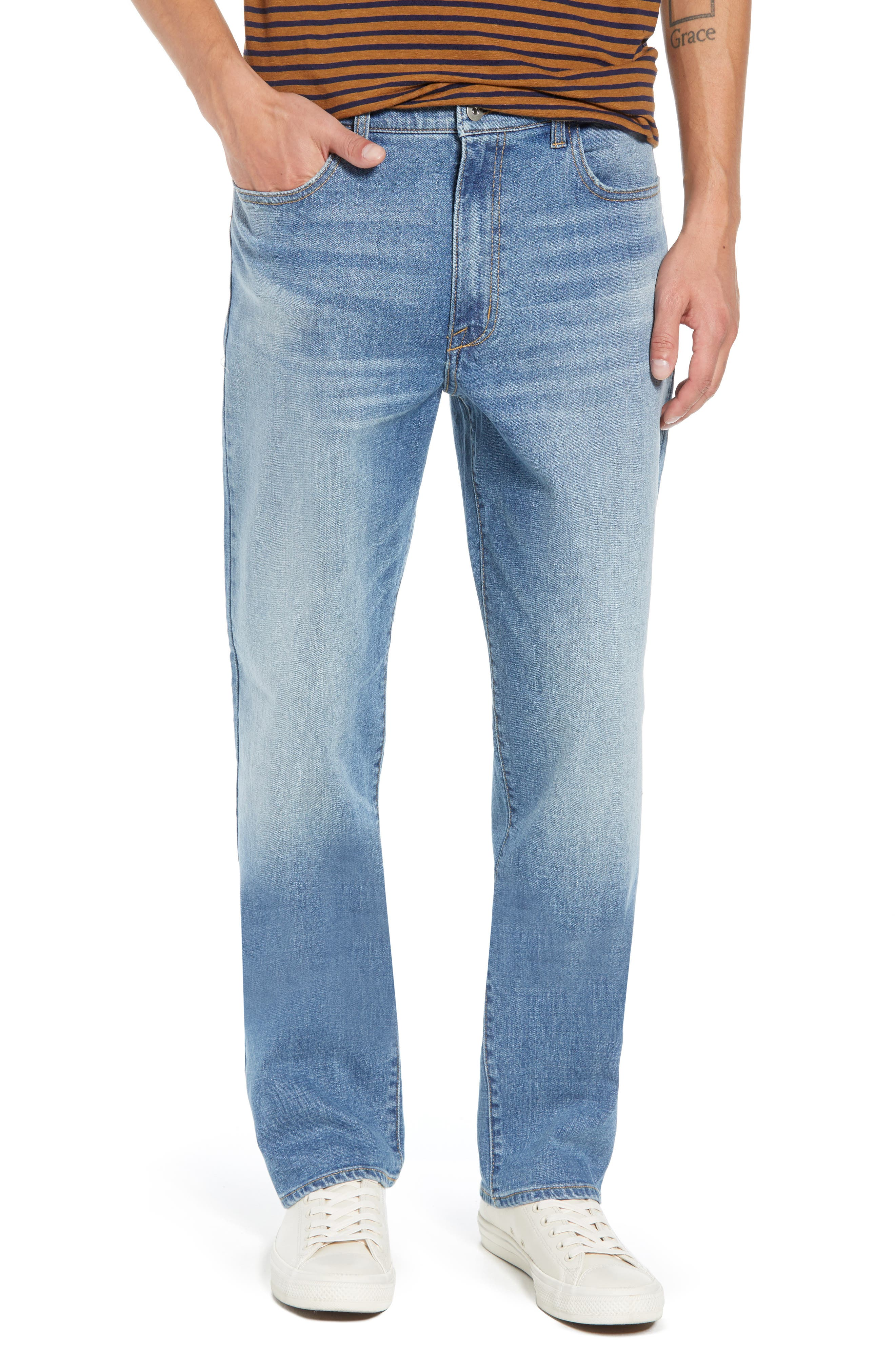 Straight Leg Jeans,                             Main thumbnail 1, color,                             BLUE EVAN WASH