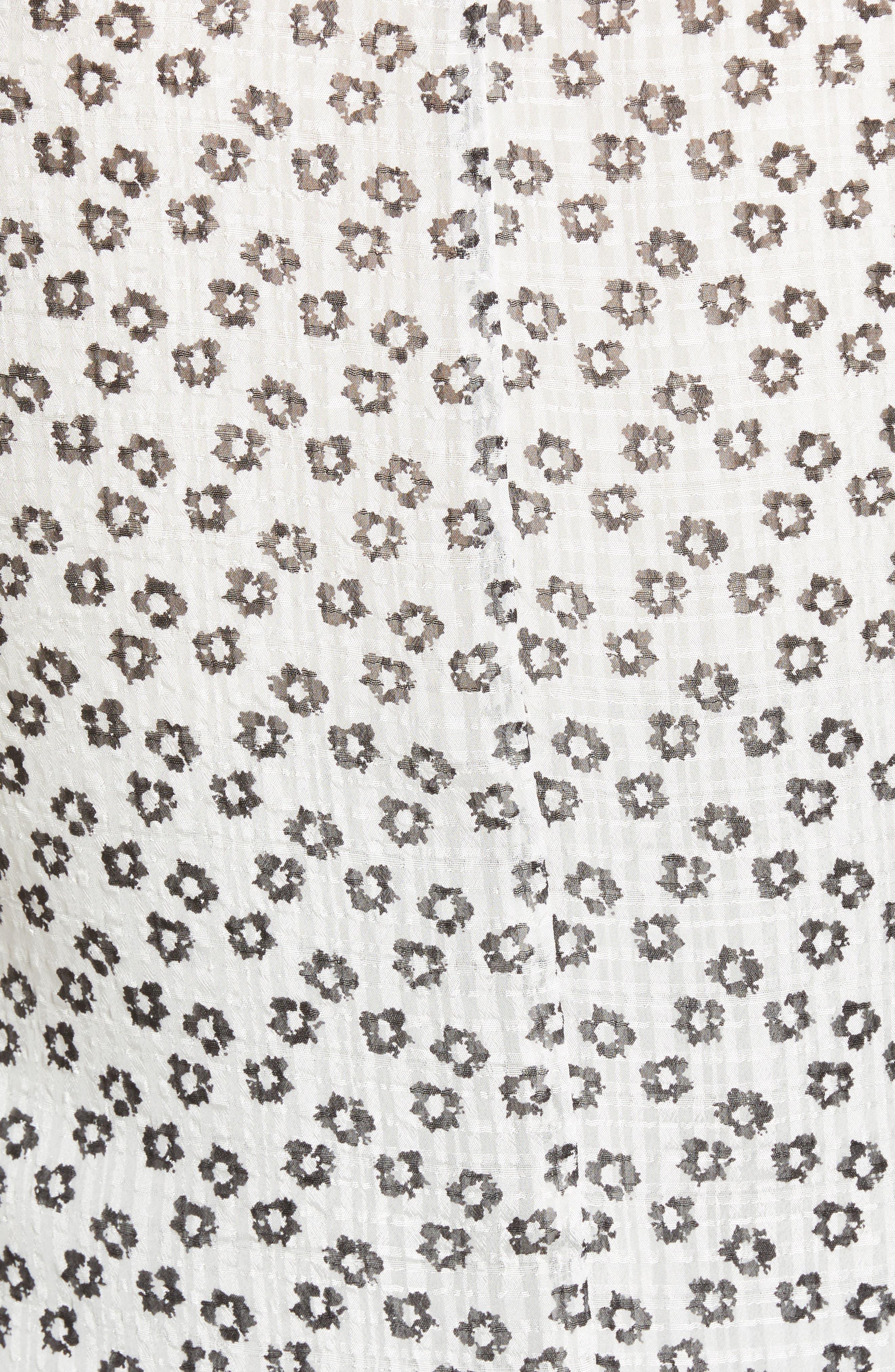 Flower Etching Ruffle Sleeve Top,                             Alternate thumbnail 5, color,                             SOFT ECRU