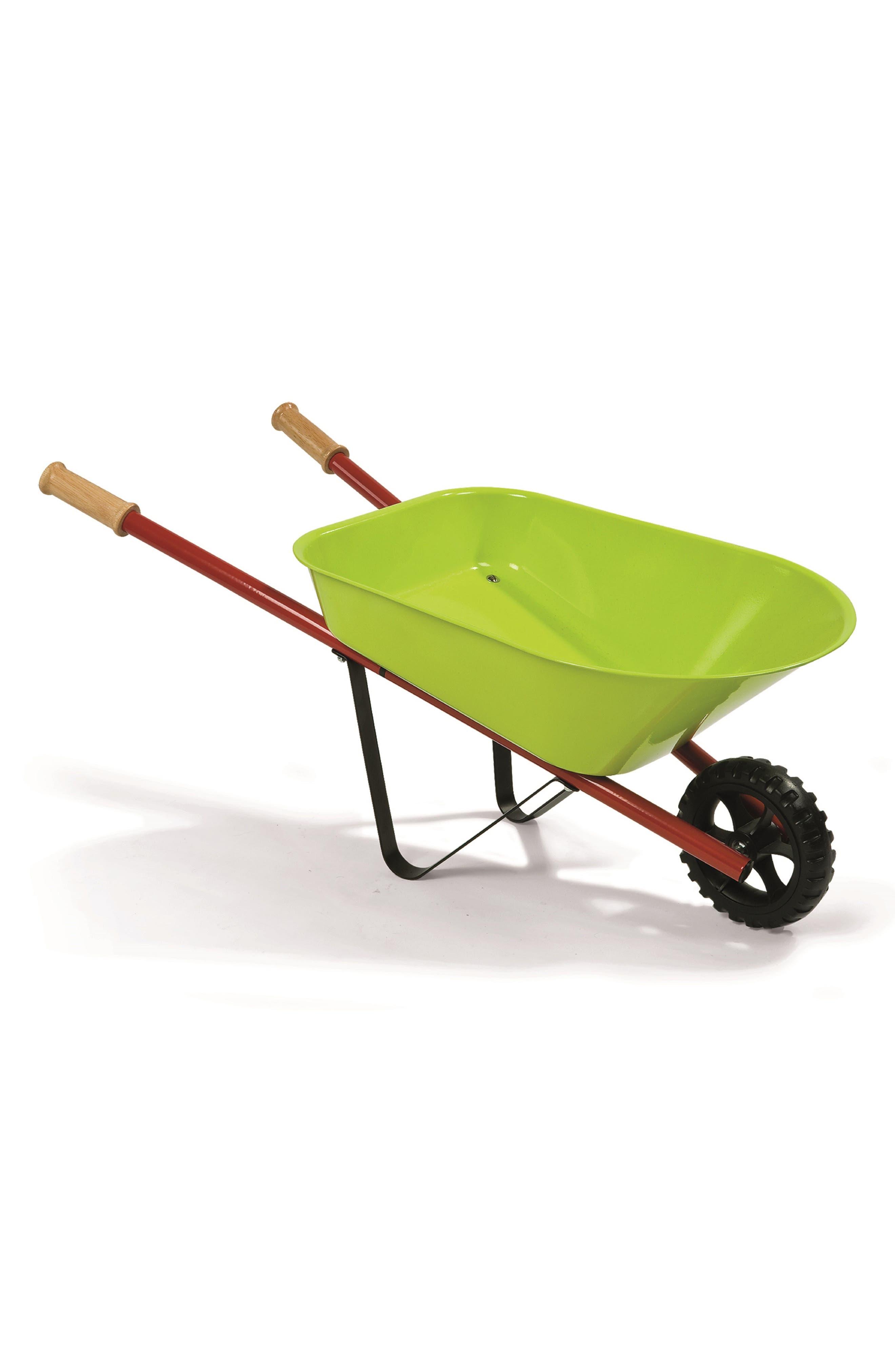 Metal Wheelbarrow Set,                         Main,                         color, GREEN