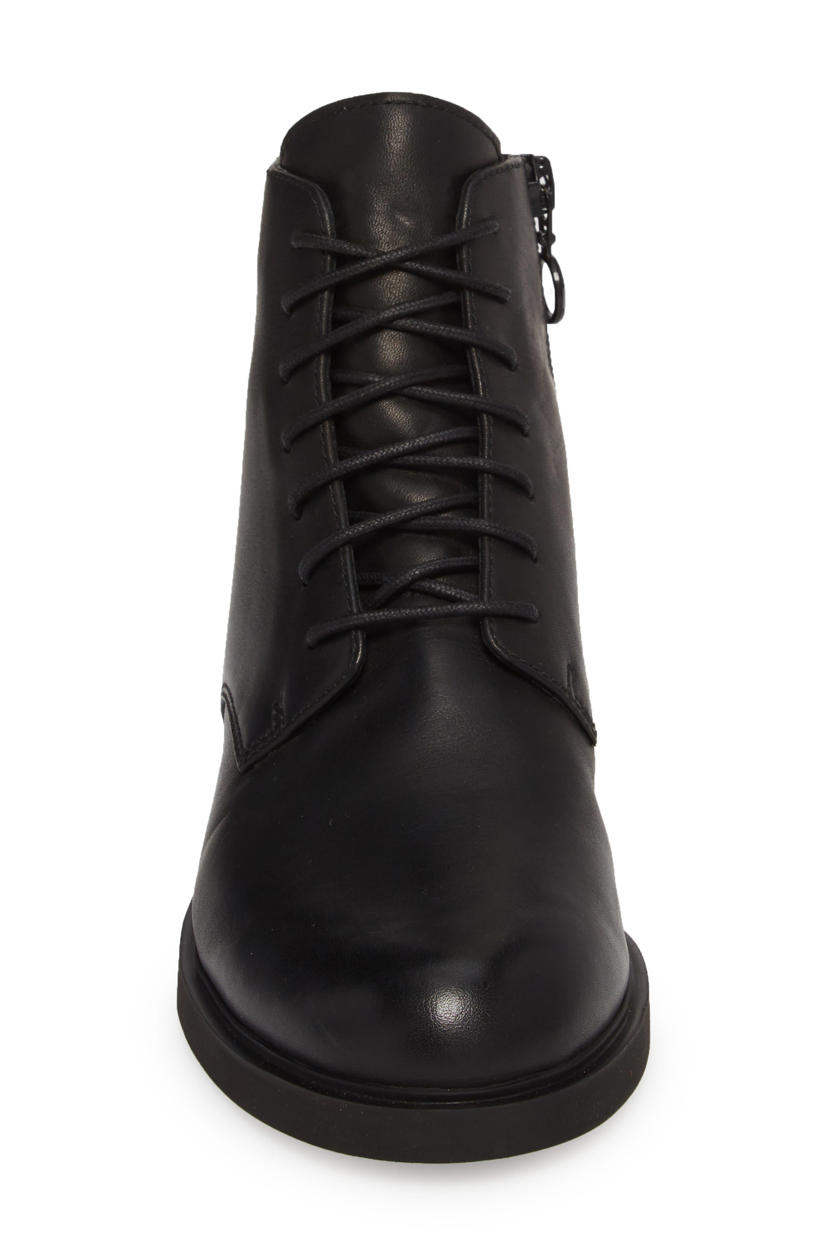 Helix Lace-Up Bootie,                             Alternate thumbnail 4, color,                             BLACK LEATHER