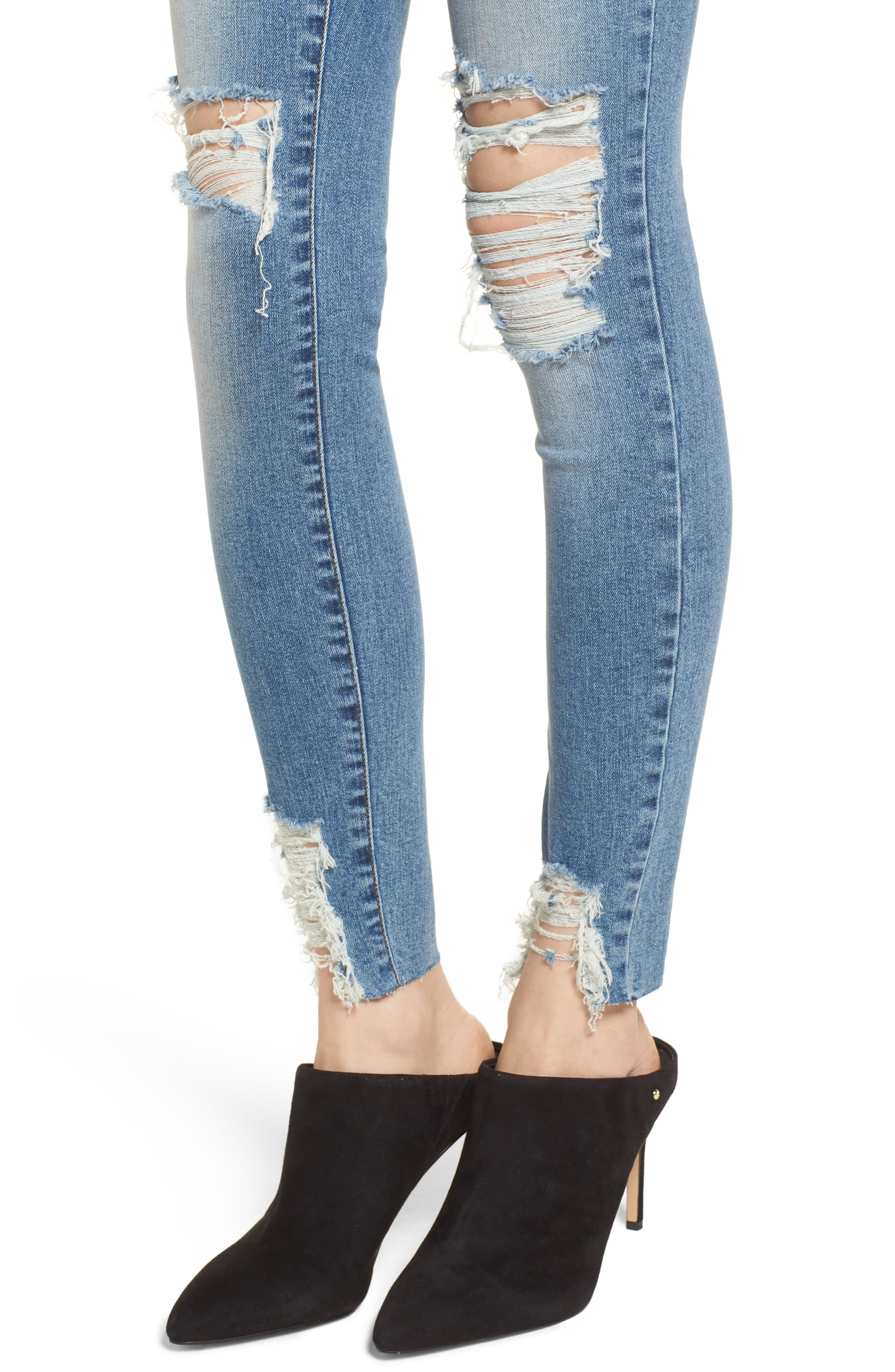 Ripped Skinny Jeans,                             Alternate thumbnail 4, color,                             420