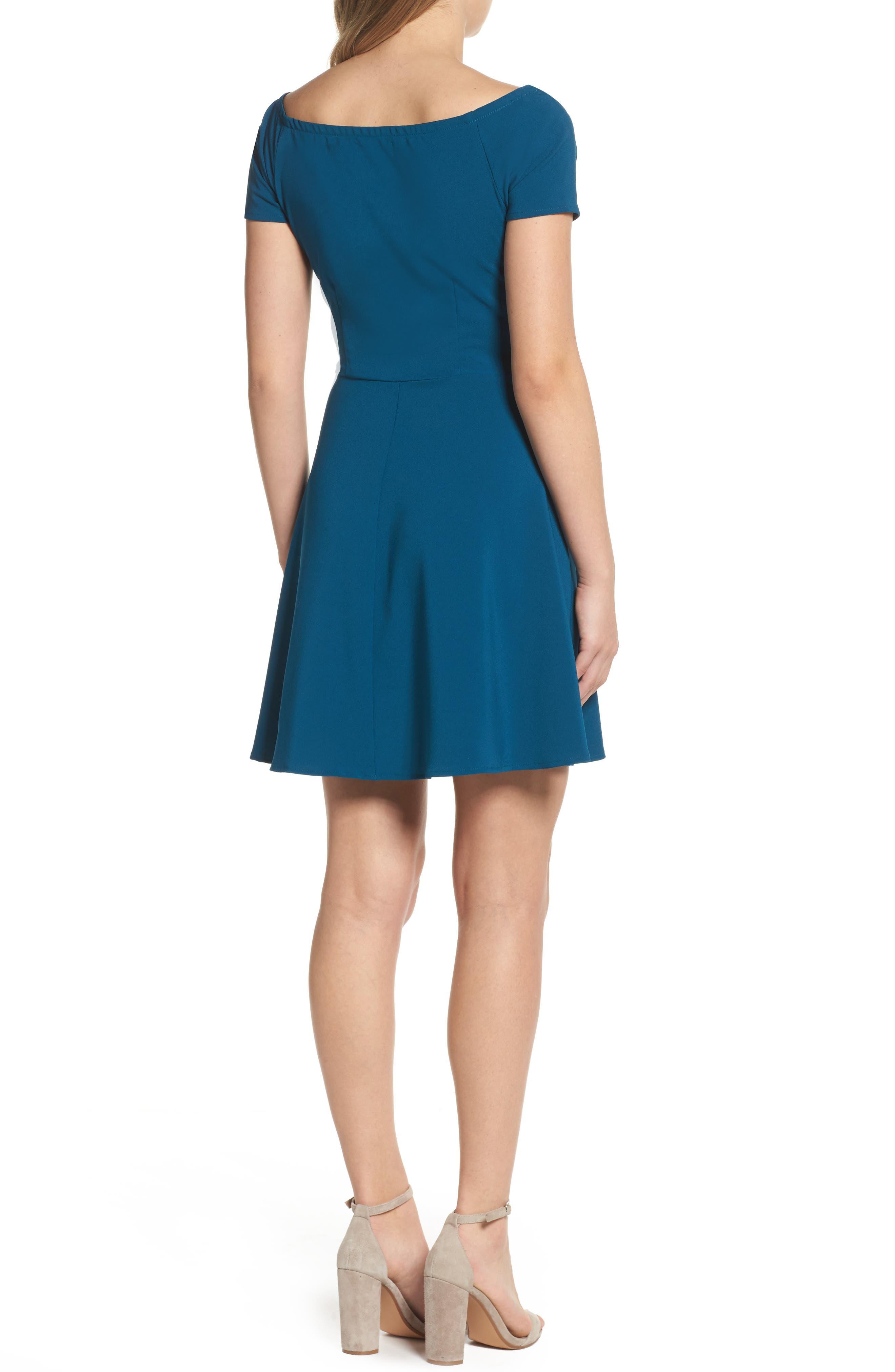 Tie Front Crepe Fit & Flare Dress,                             Alternate thumbnail 4, color,