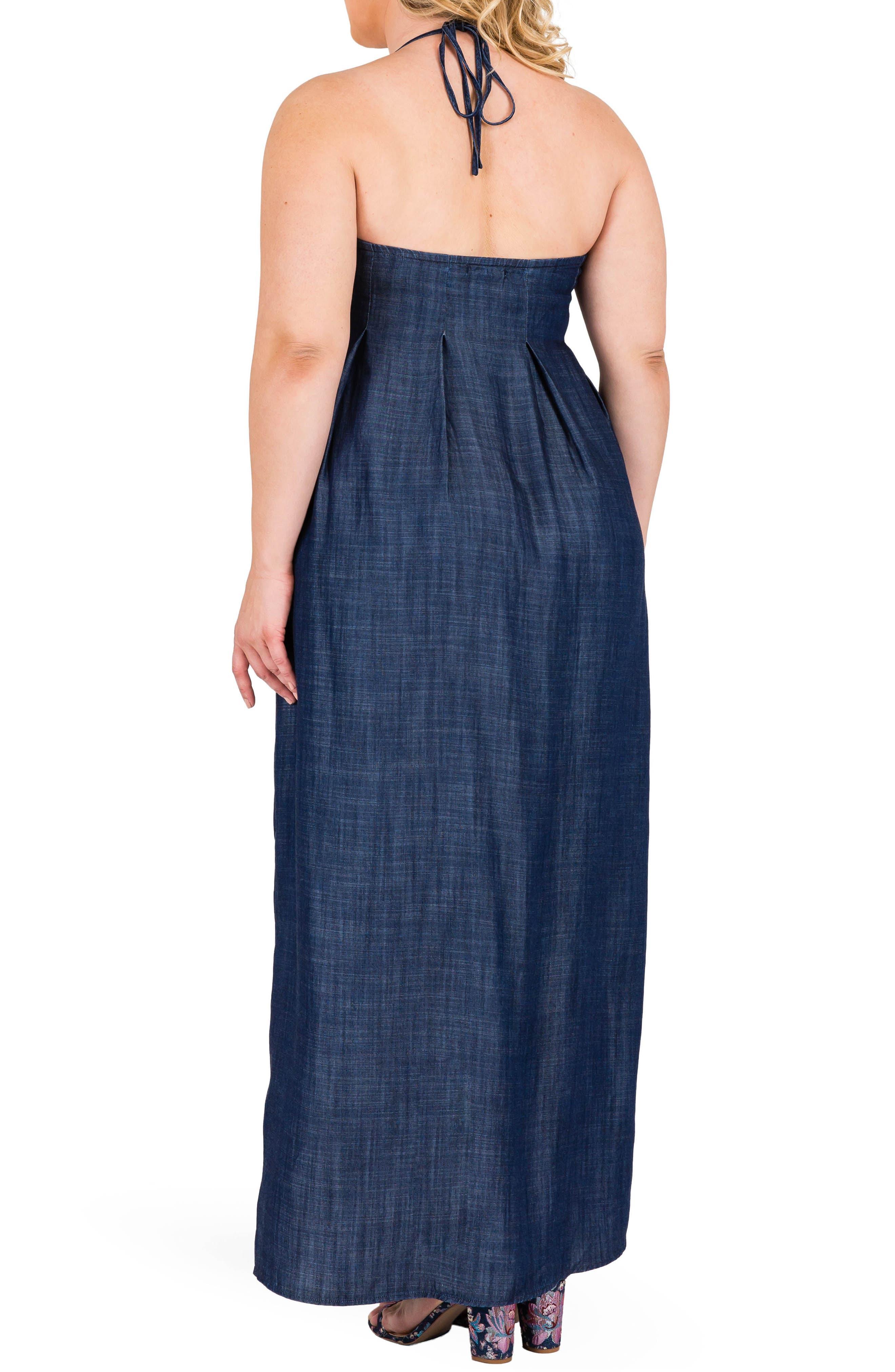Maui Maxi Chambray Halter Dress,                             Alternate thumbnail 2, color,                             DARK BLUE