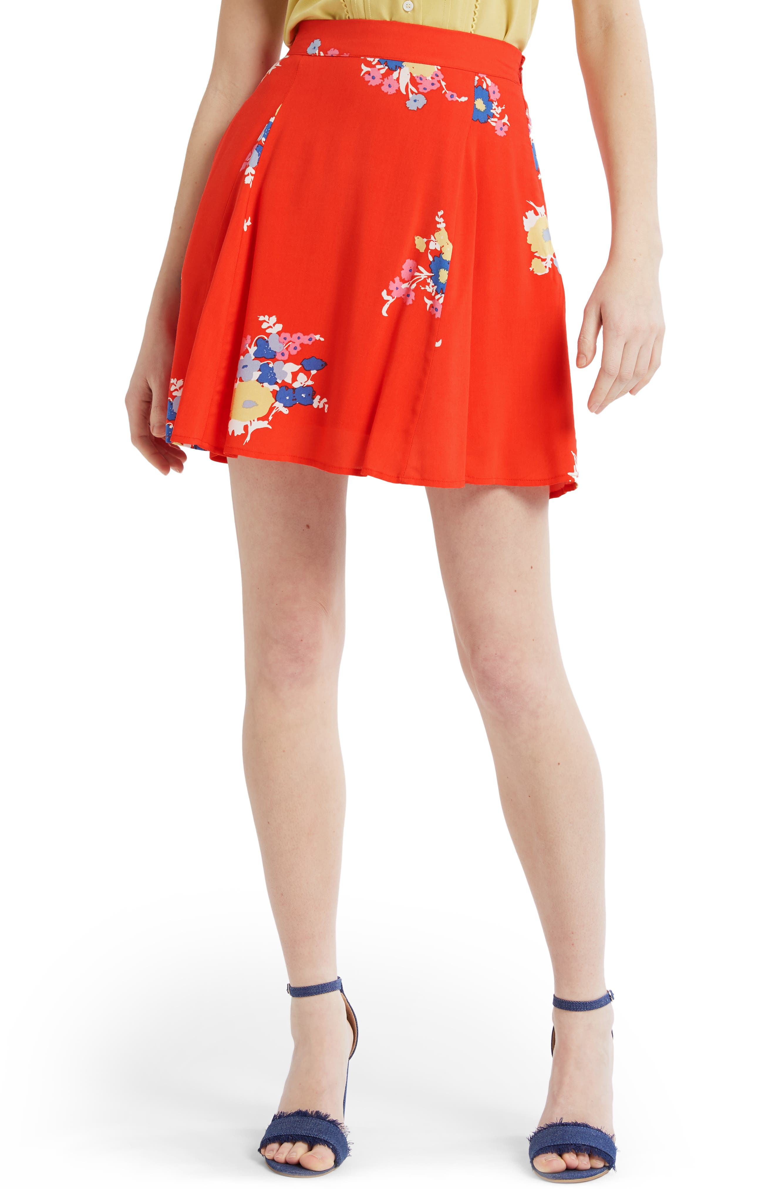 Modcloth Stay Sassy Swingy A-Line Skirt, Red