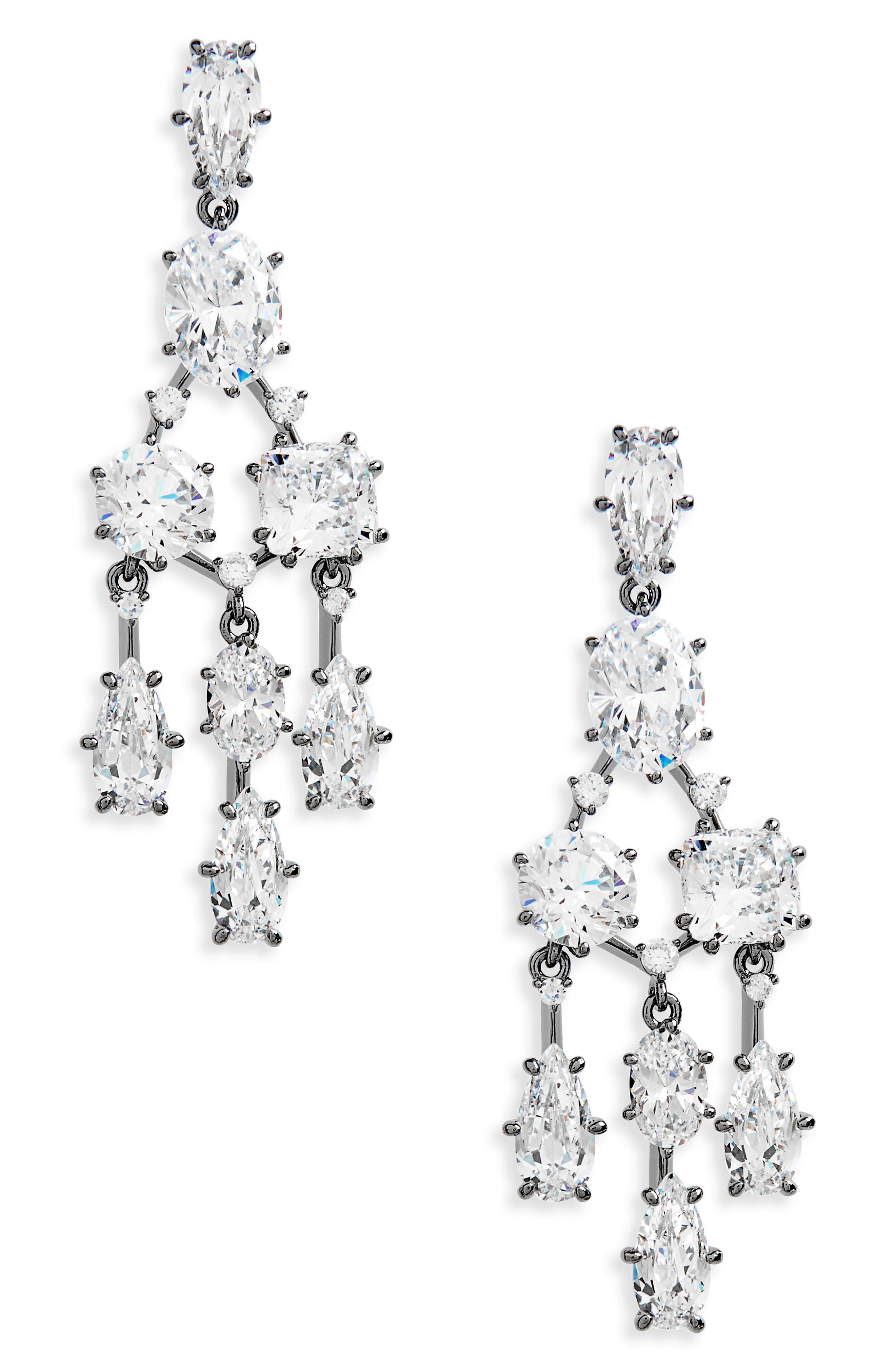 Cubic Zirconia Chandelier Earrings,                             Main thumbnail 1, color,                             001