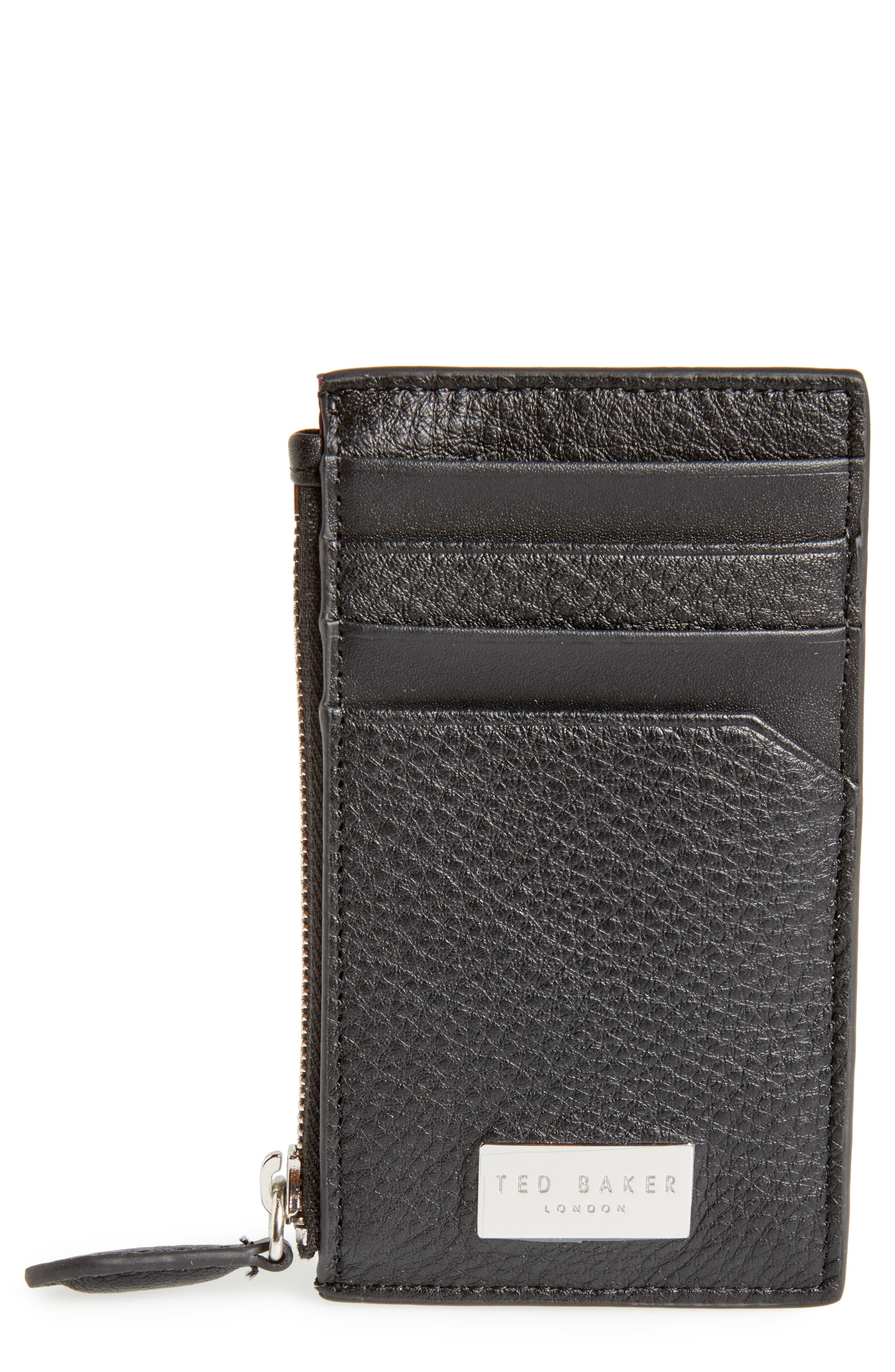Snapps Core Leather Zip Card Case,                             Main thumbnail 1, color,                             001