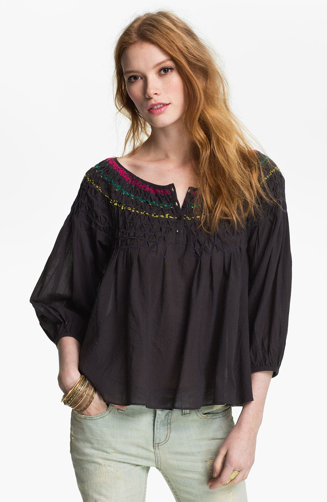 Embroidered Peasant Blouse,                             Main thumbnail 1, color,                             002