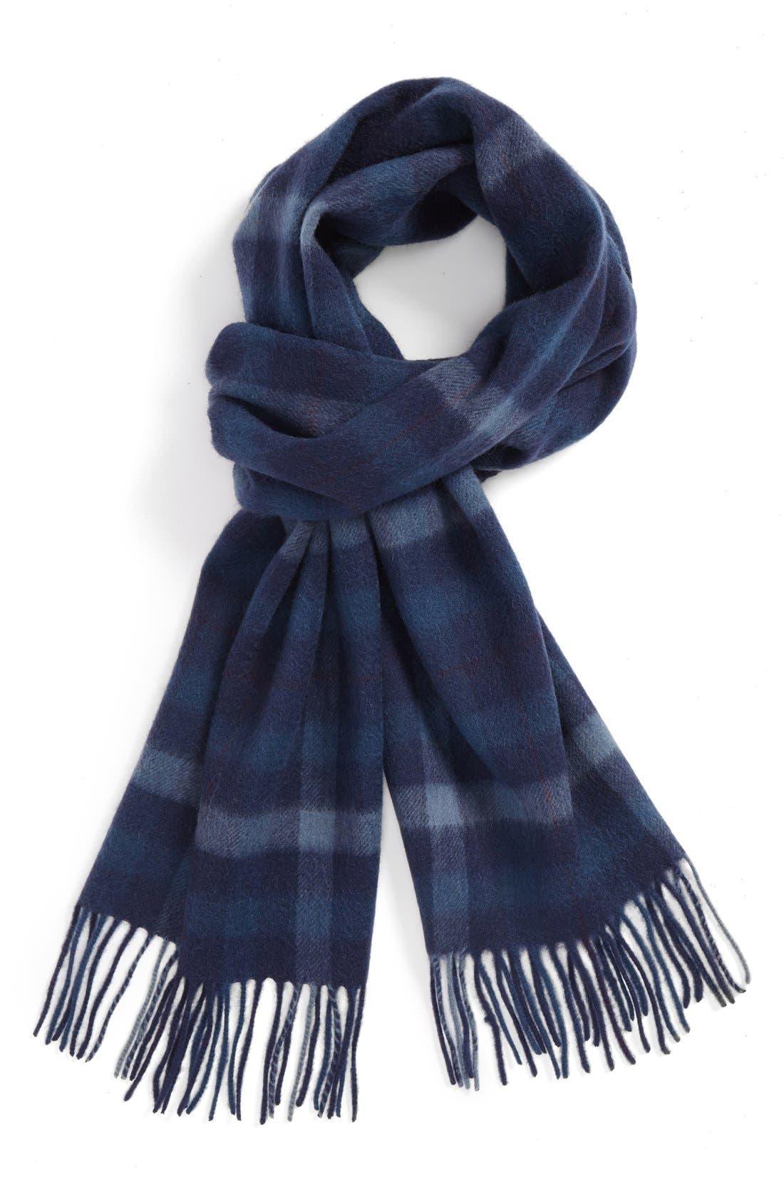 Large Plaid Wool Scarf,                             Main thumbnail 1, color,                             410