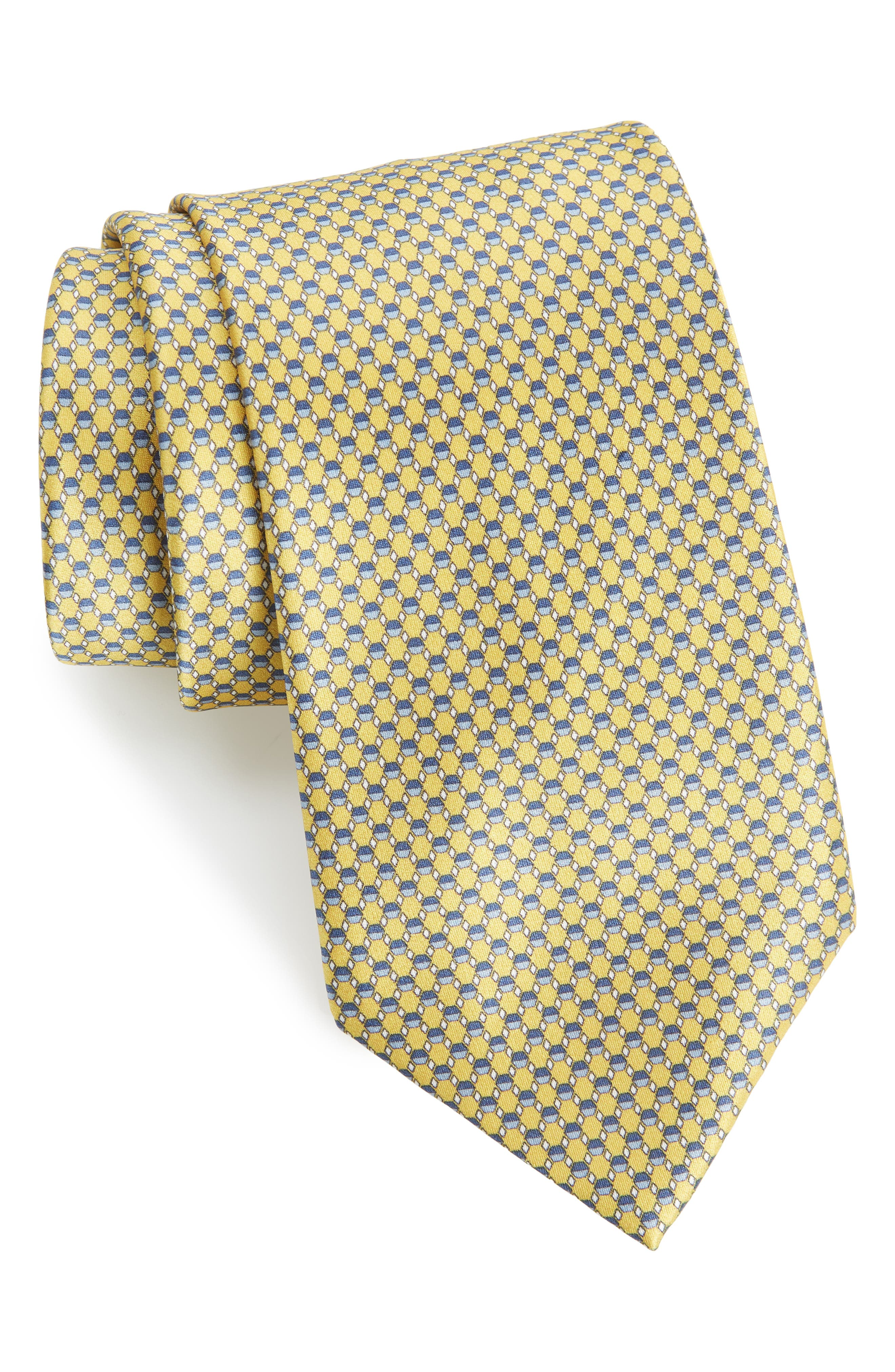 Geometric Silk Tie,                         Main,                         color, YELLOW/ BLUE