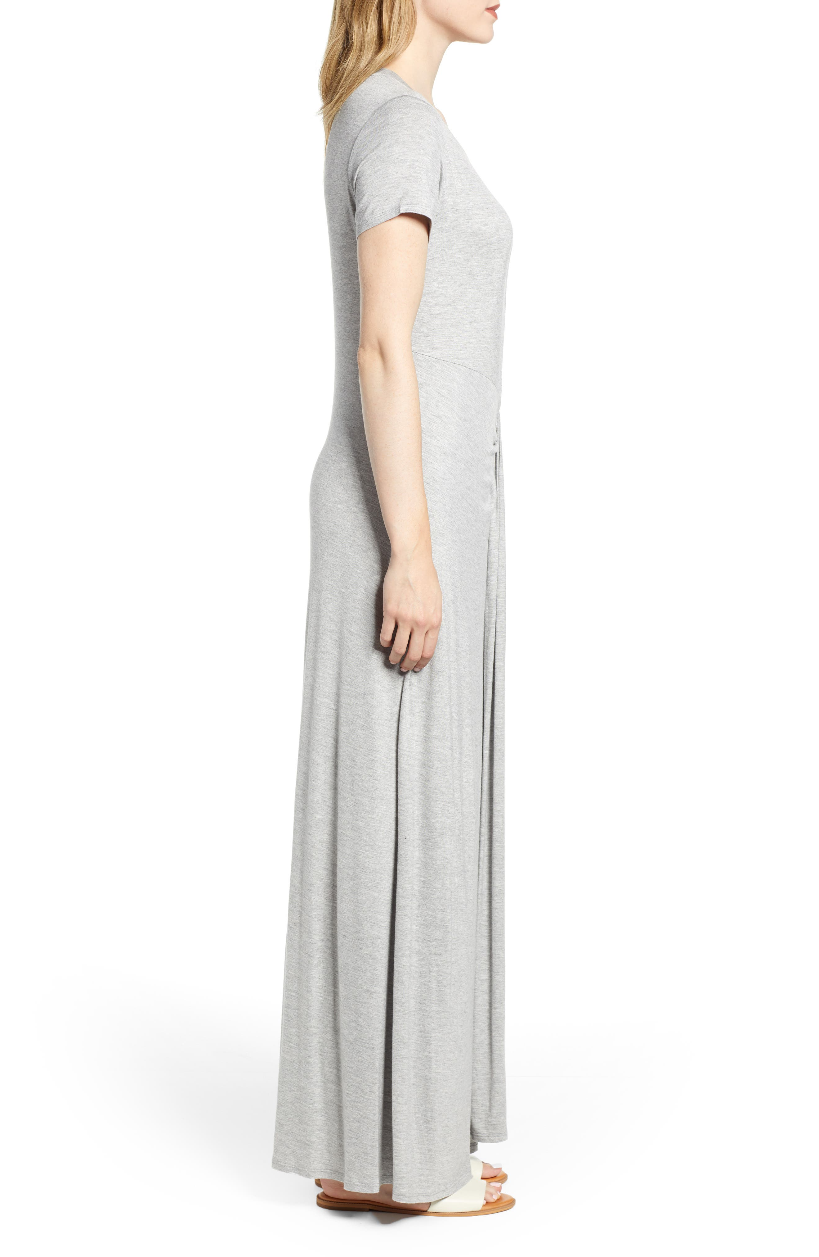 CASLON<SUP>®</SUP>,                             Front Gathered Maxi Dress,                             Alternate thumbnail 4, color,                             GREY HEATHER