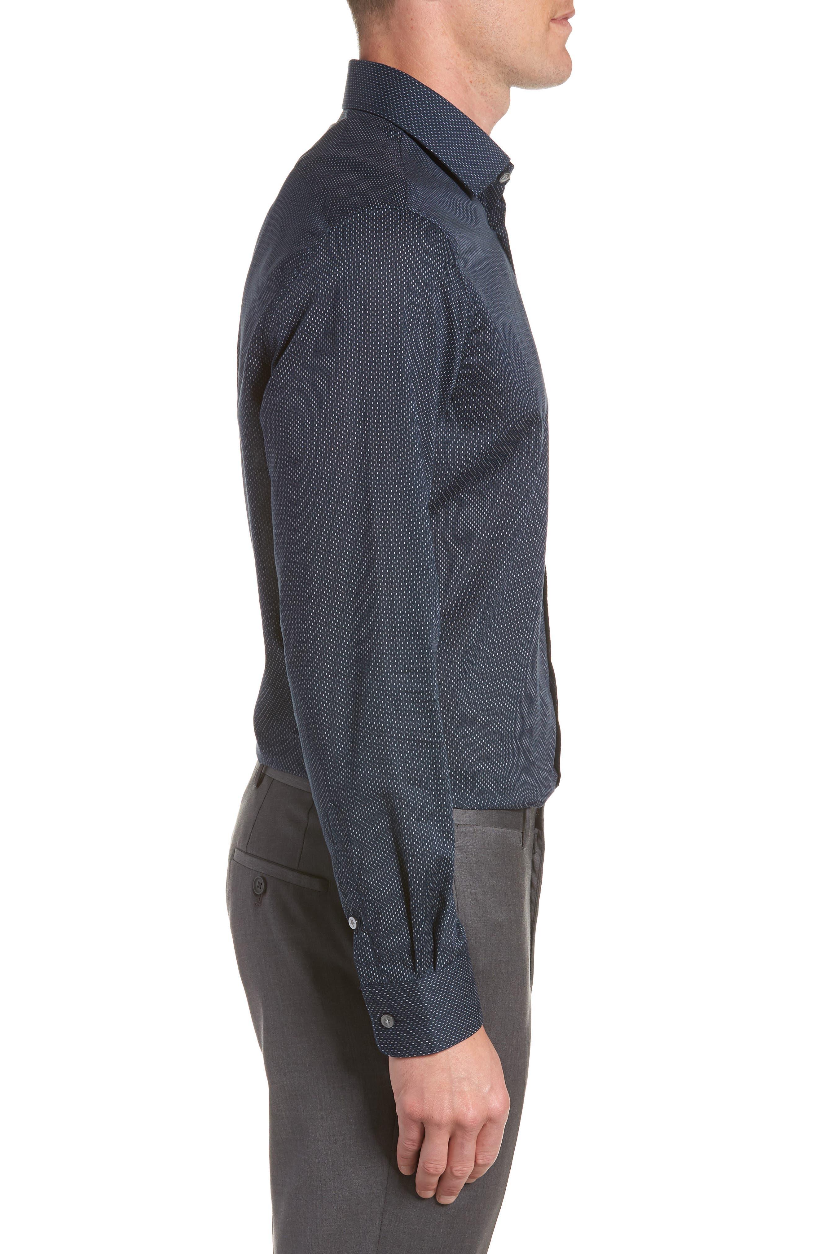 Regular Fit Dot Dress Shirt,                             Alternate thumbnail 4, color,                             INDIGO