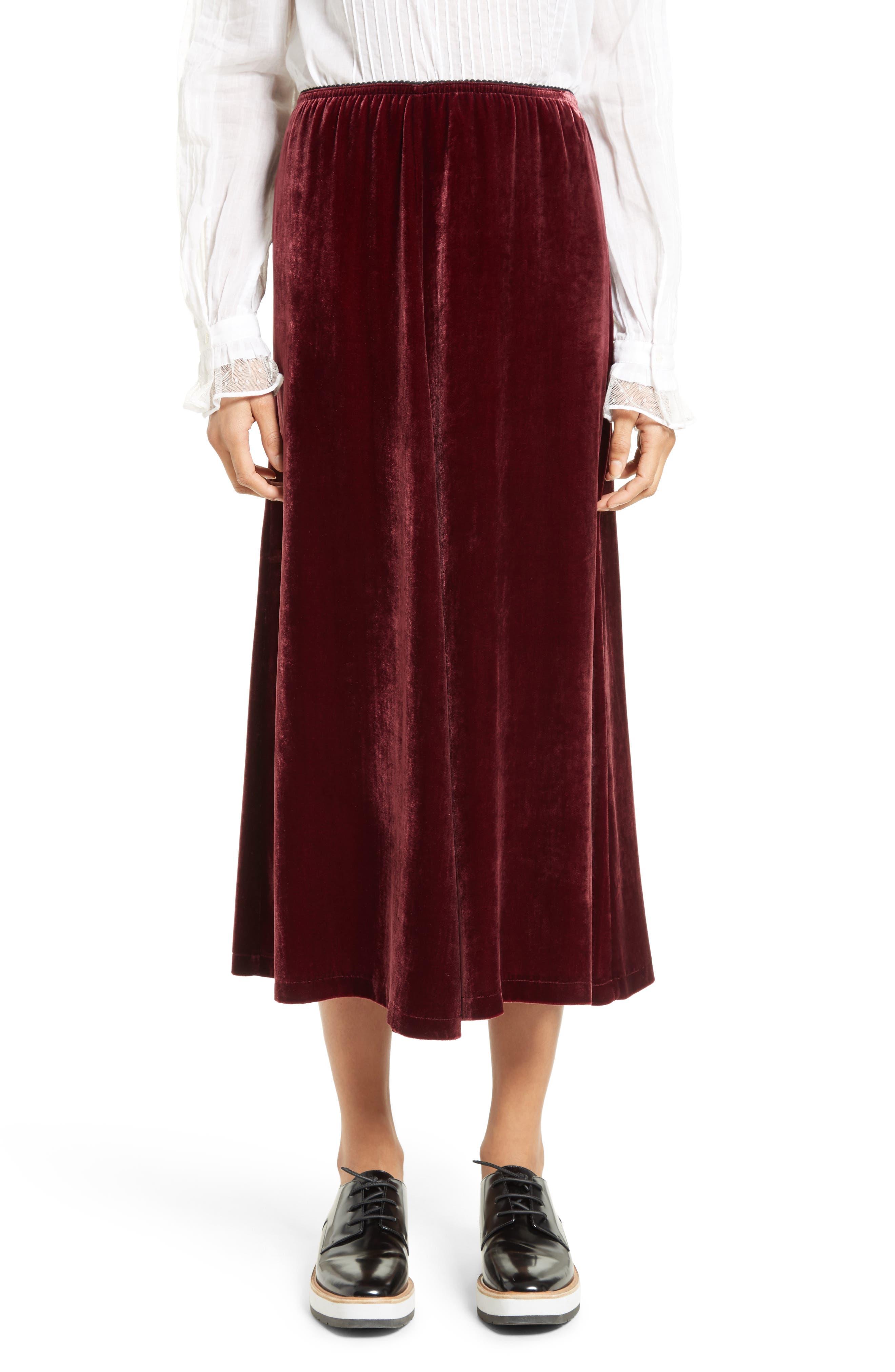 Velvet Midi Skirt,                             Main thumbnail 1, color,                             601