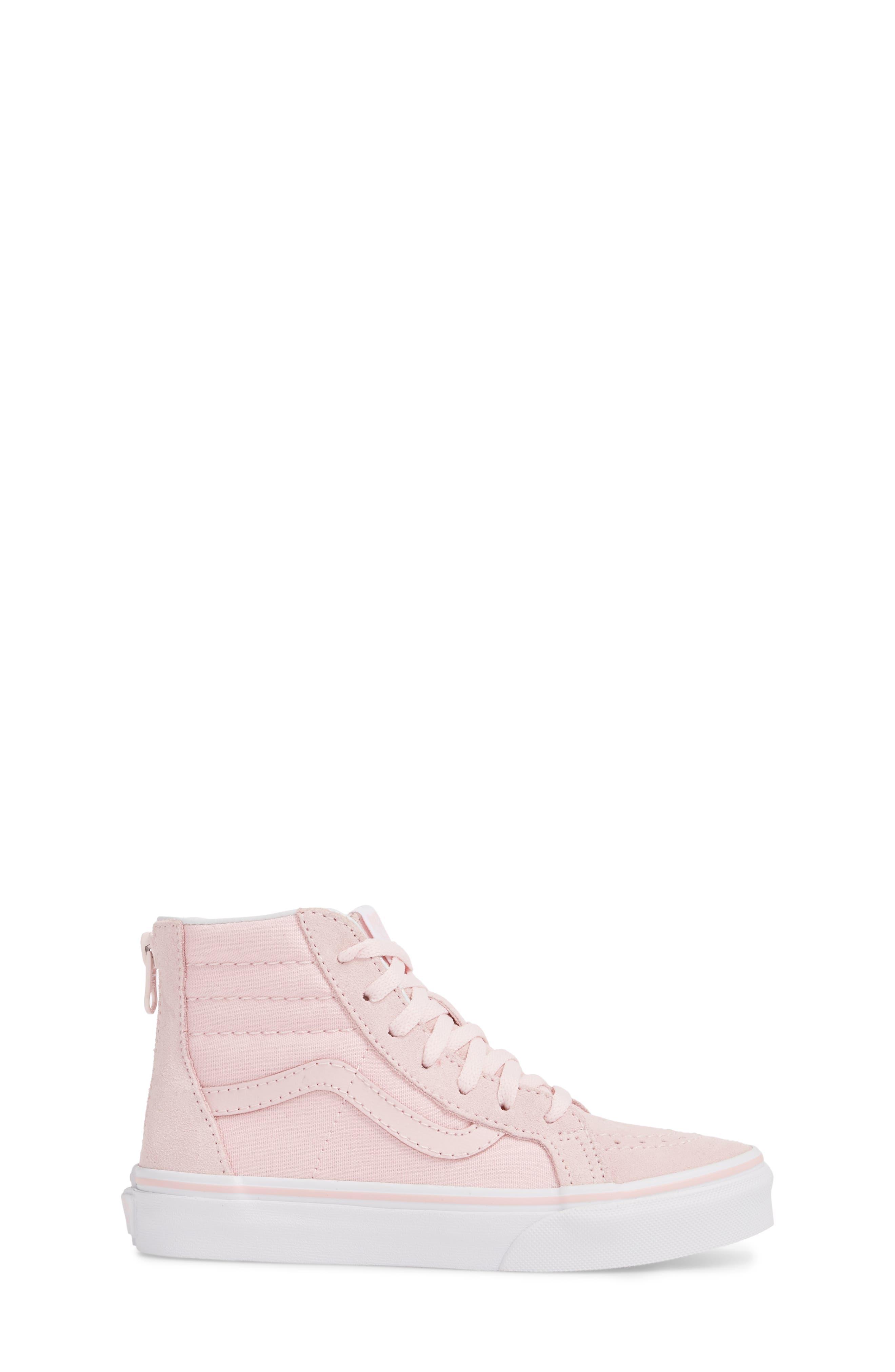 Sk8-Hi Zip Sneaker,                             Alternate thumbnail 3, color,                             CHALK PINK/ TRUE WHITE