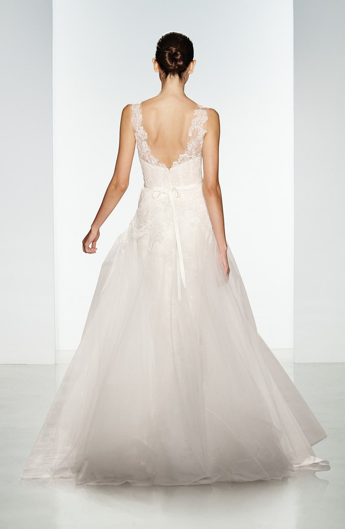 Rae Corded Lace Gown with Tulle Overskirt,                             Alternate thumbnail 3, color,                             901