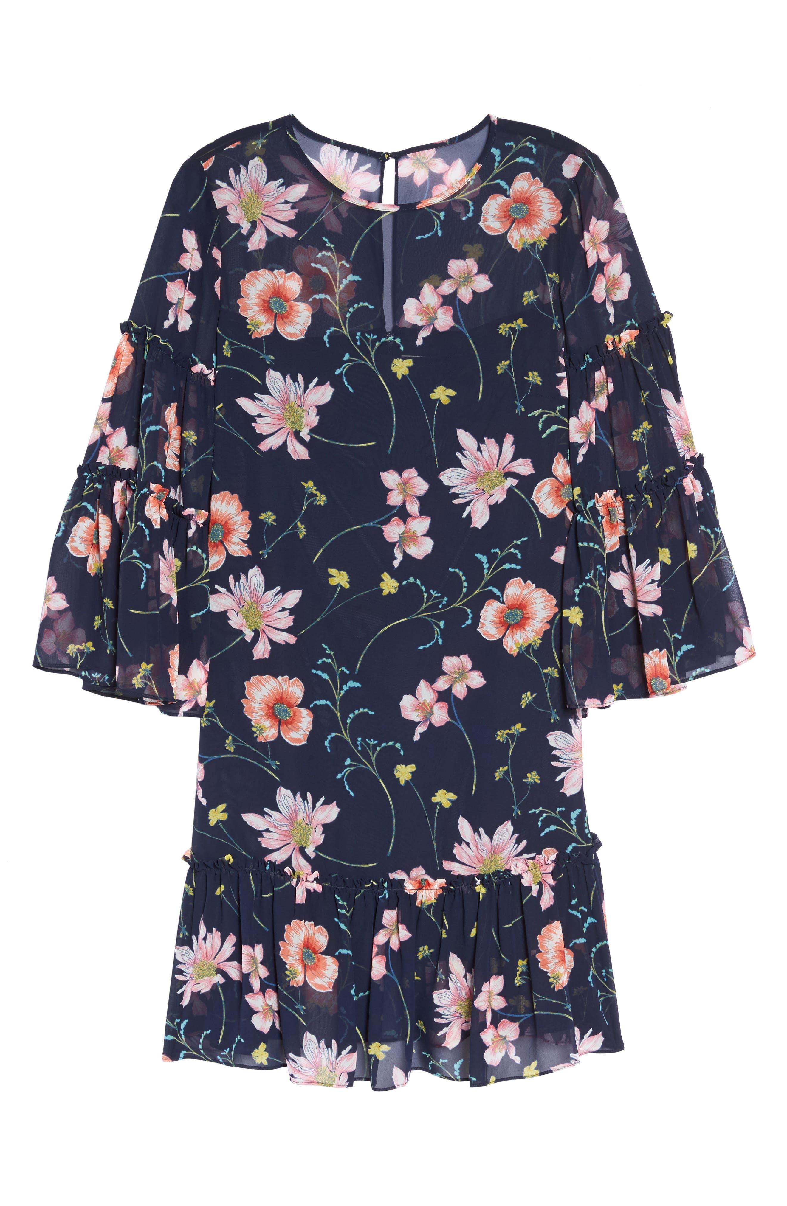 Bell Sleeve Dress,                             Alternate thumbnail 6, color,                             410