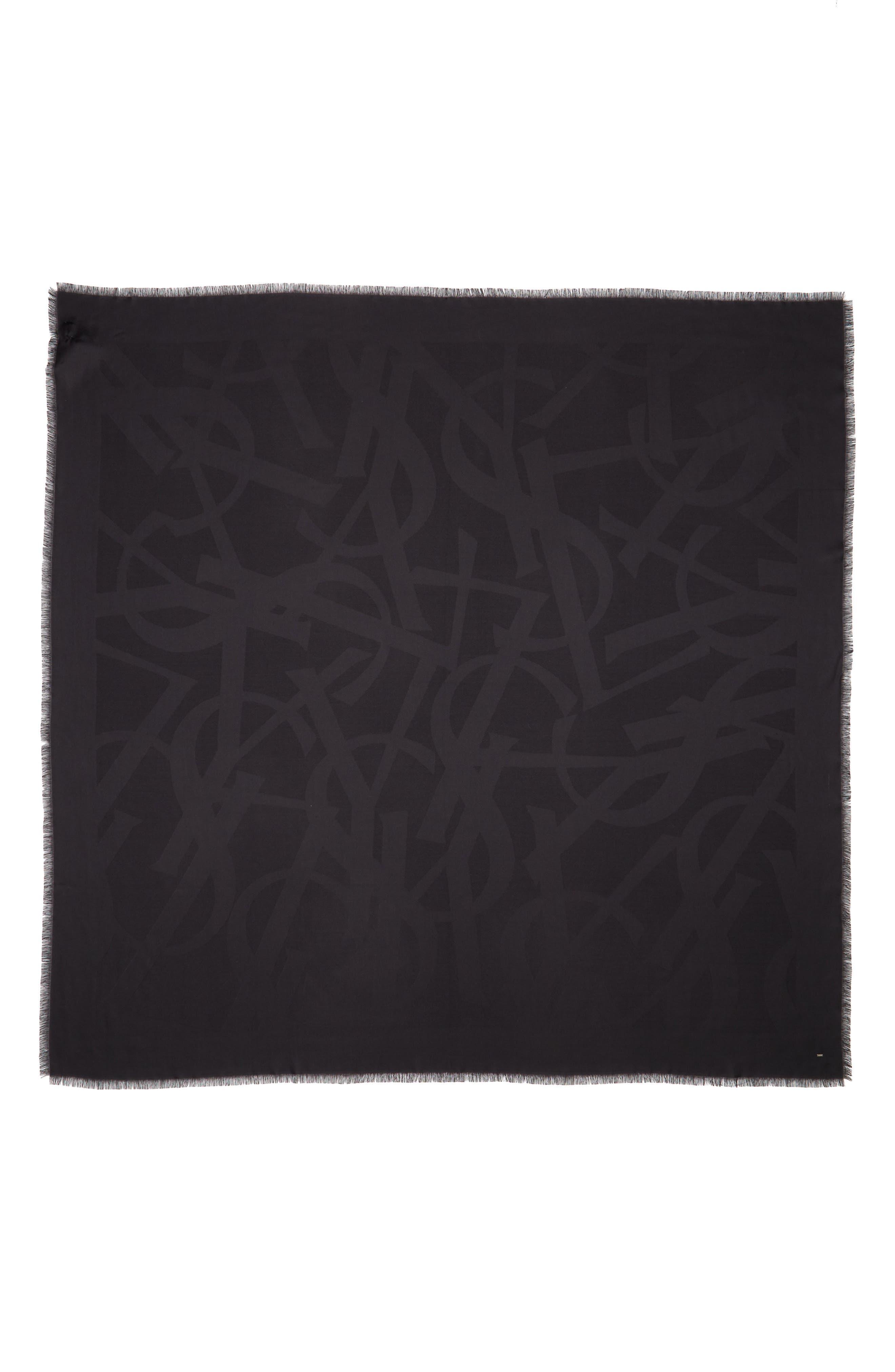 YSL Random Logo Jacquard Square Silk Scarf,                         Main,                         color, 001
