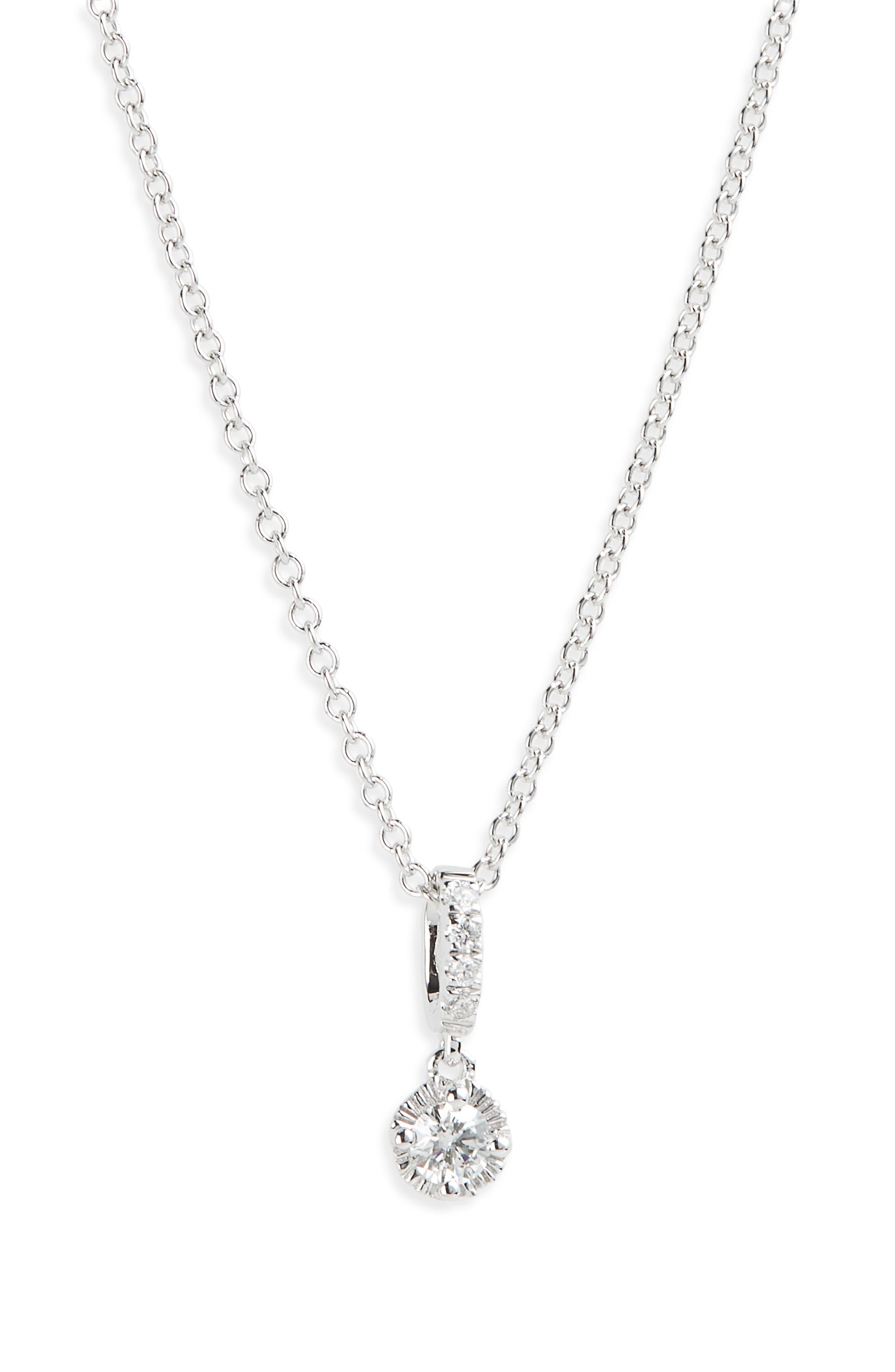 Mila Diamond Pendant Necklace,                         Main,                         color, WHITE GOLD