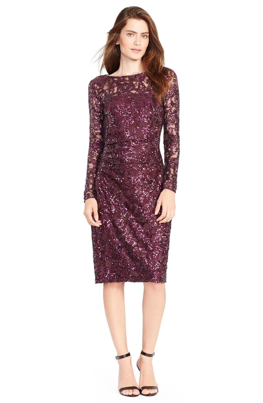 Sequin Lace Sheath Dress,                         Main,                         color, 600