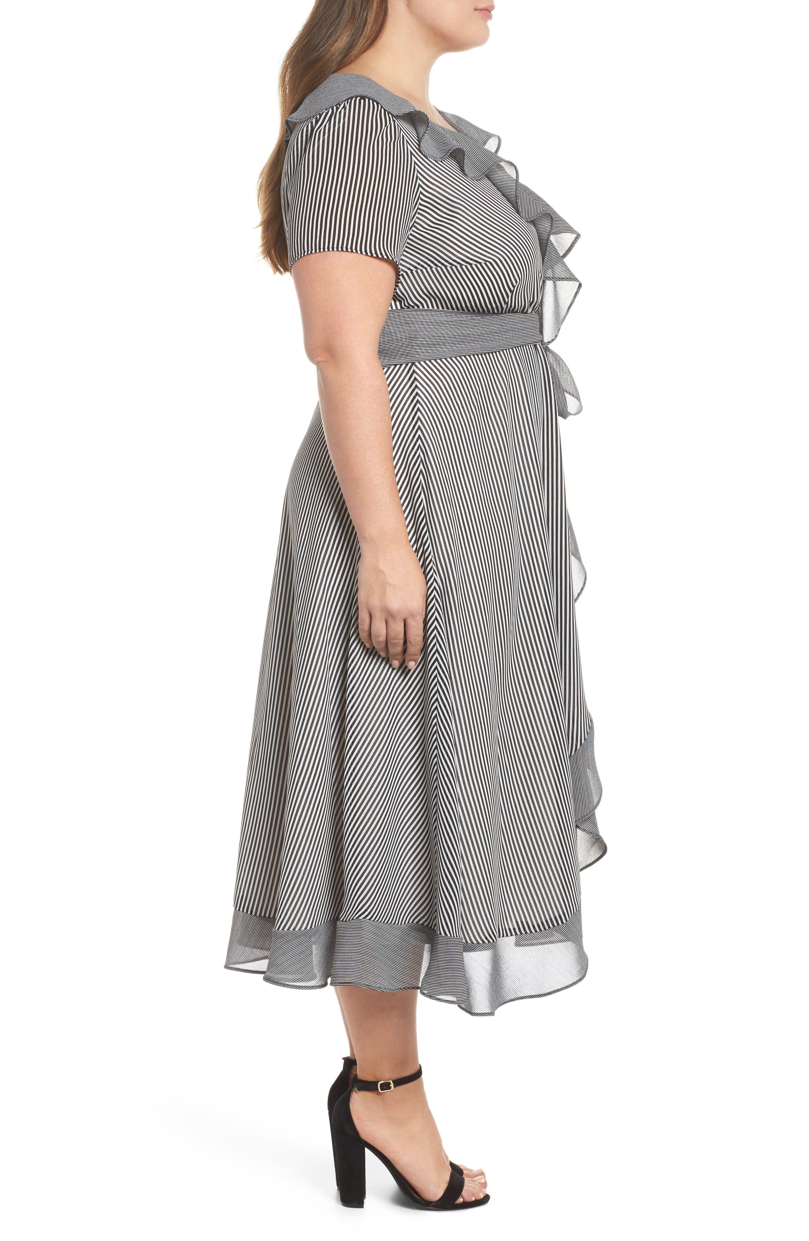 Ruffle Stripe Faux Wrap Midi Dress,                             Alternate thumbnail 3, color,