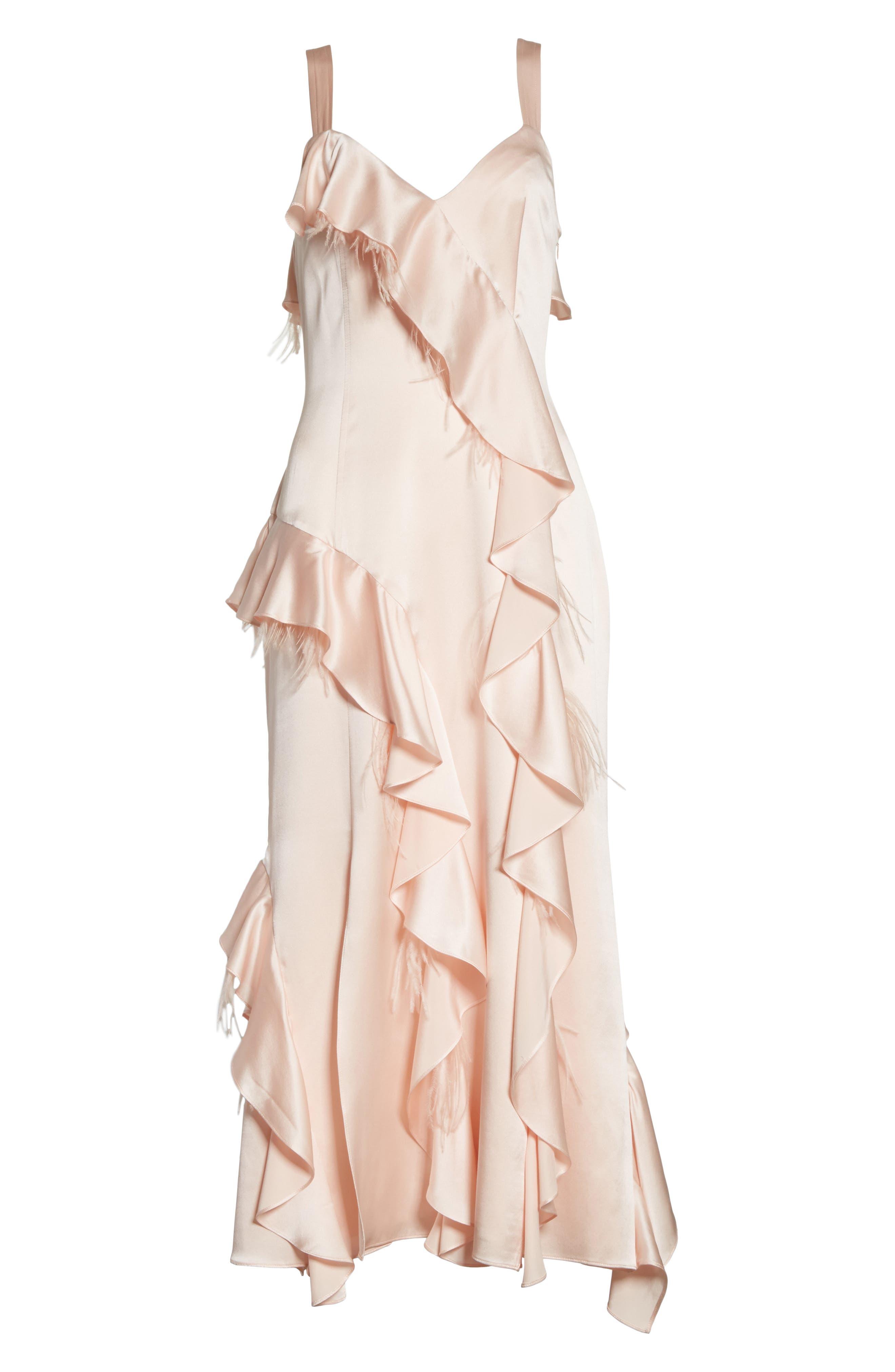 Gigi Ruffle & Ostrich Feather Silk Dress,                             Alternate thumbnail 6, color,                             655