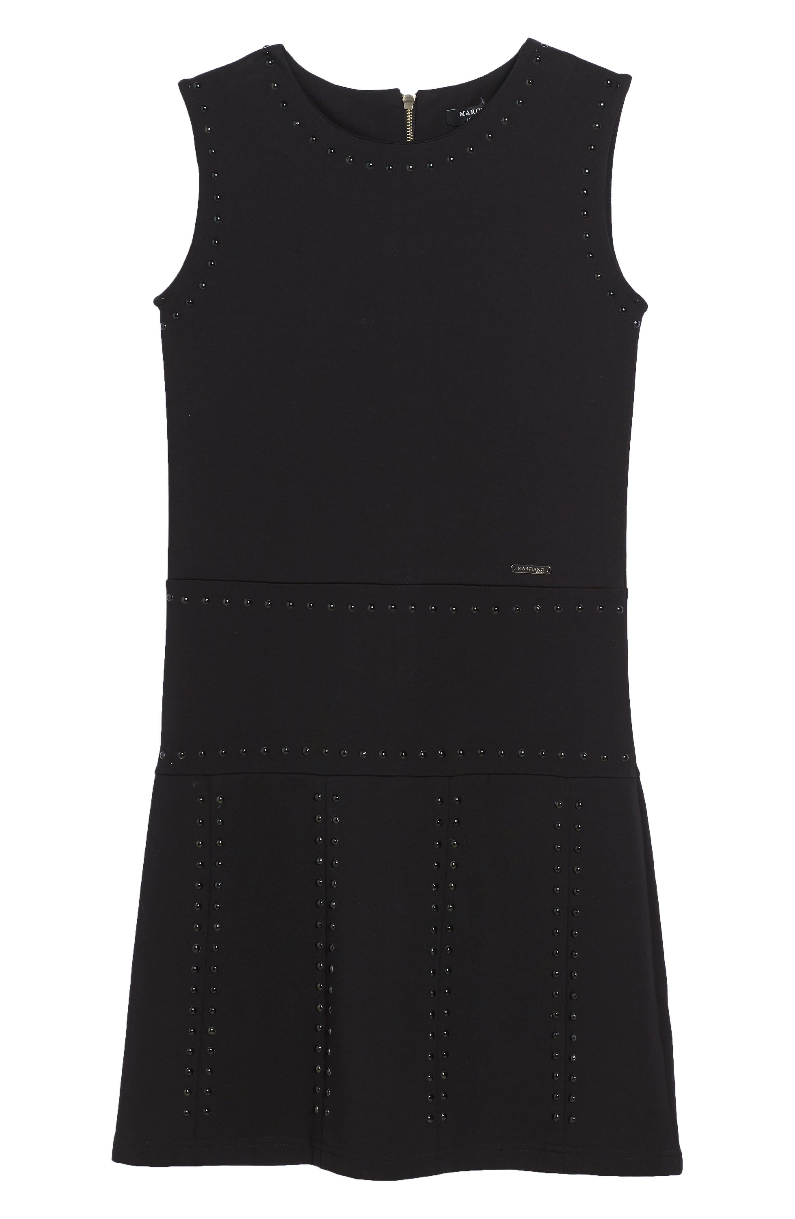 Studded Sleeveless Dress,                         Main,                         color, 001