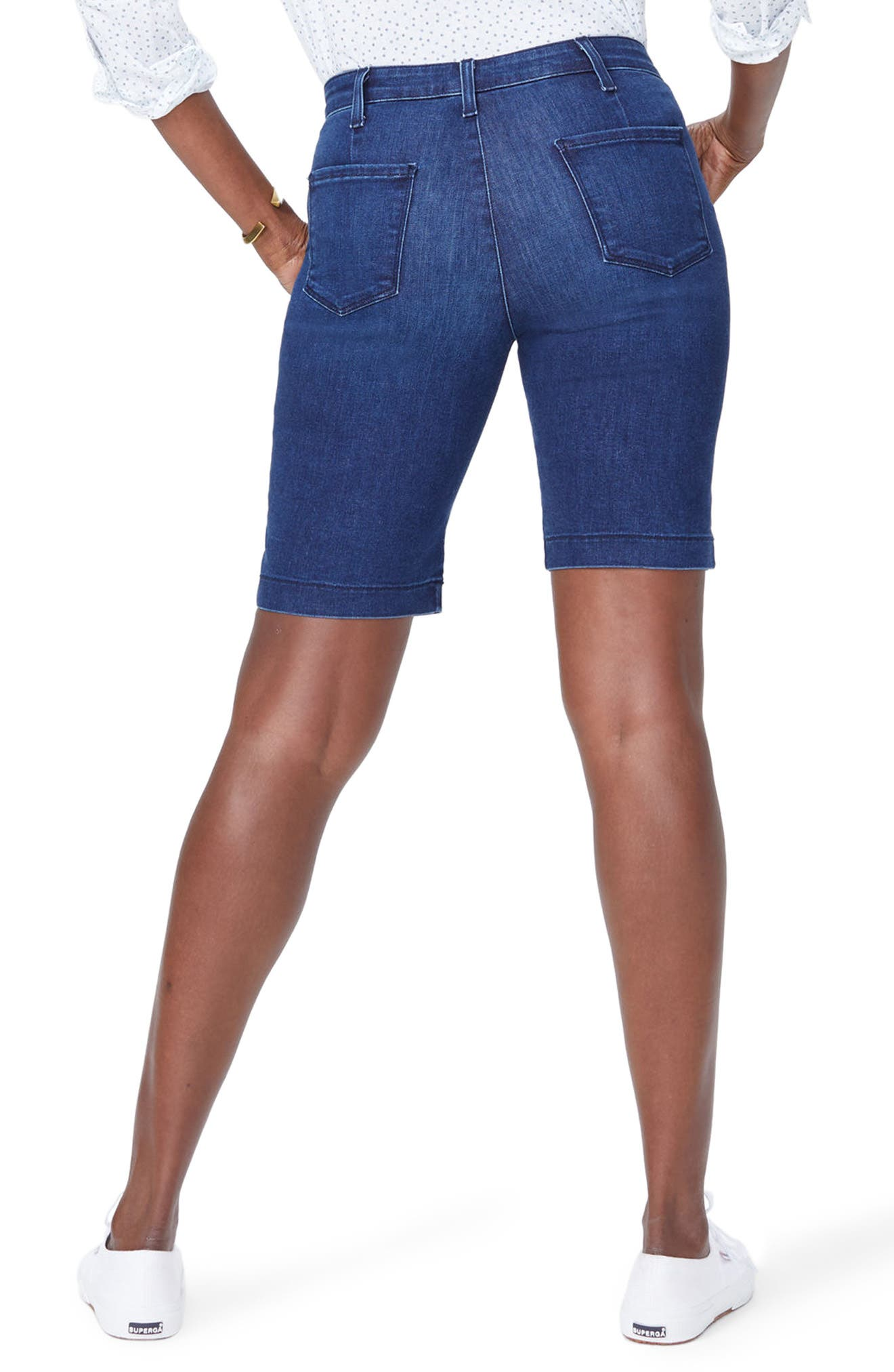 Marilyn Stretch Denim Bermuda Shorts,                             Alternate thumbnail 2, color,                             COOPER