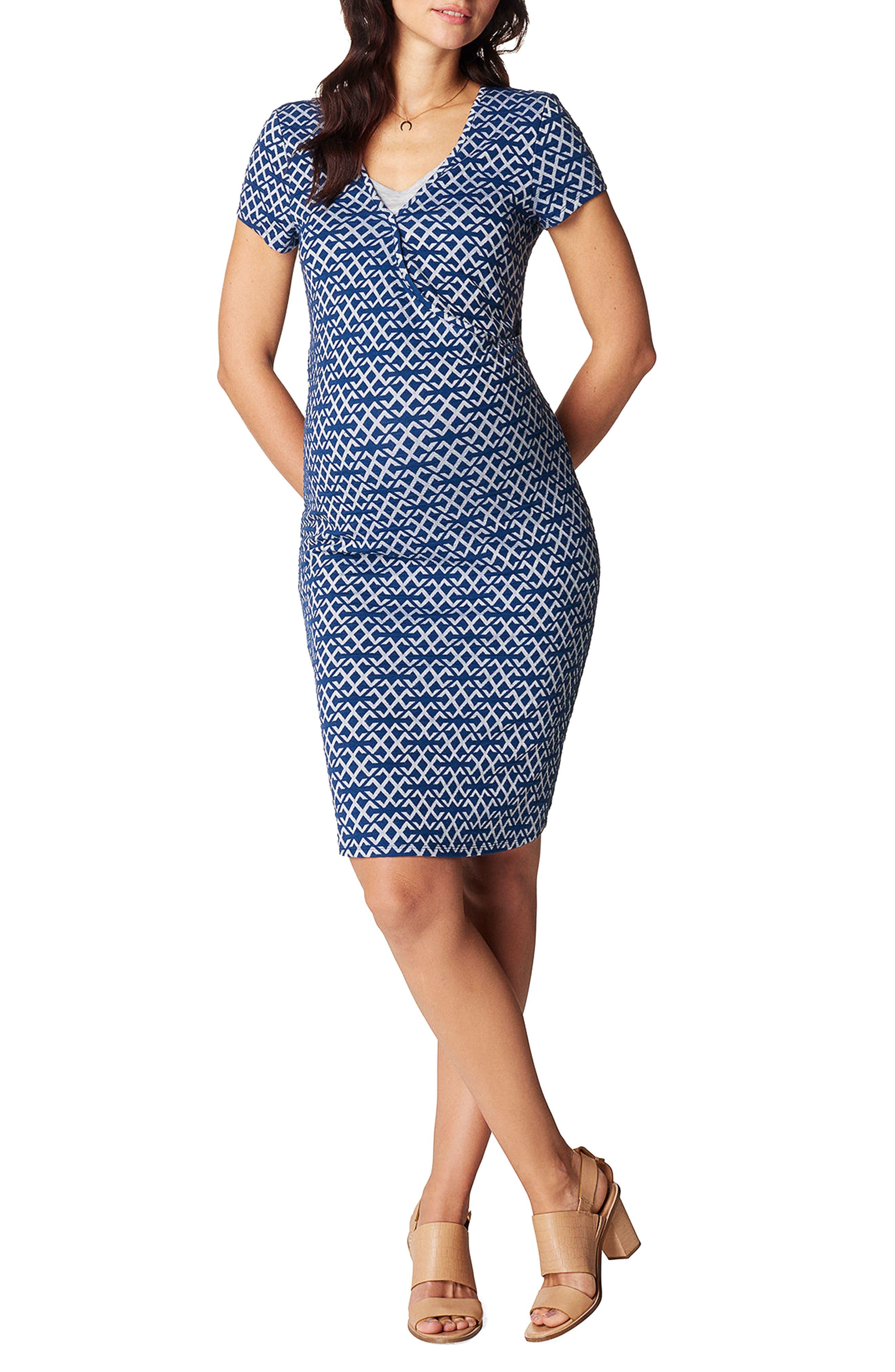 Elisa Maternity/Nursing Dress,                             Main thumbnail 1, color,                             BLUE
