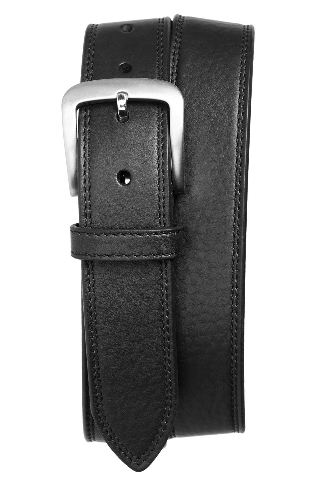 Double Stitch Leather Belt,                         Main,                         color, BLACK