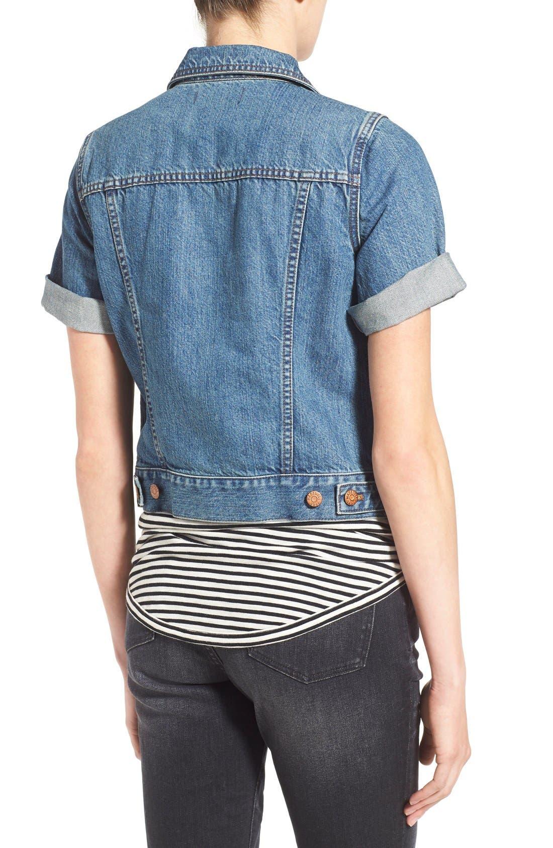 'Summer' Short Sleeve Denim Jacket,                             Alternate thumbnail 5, color,                             407