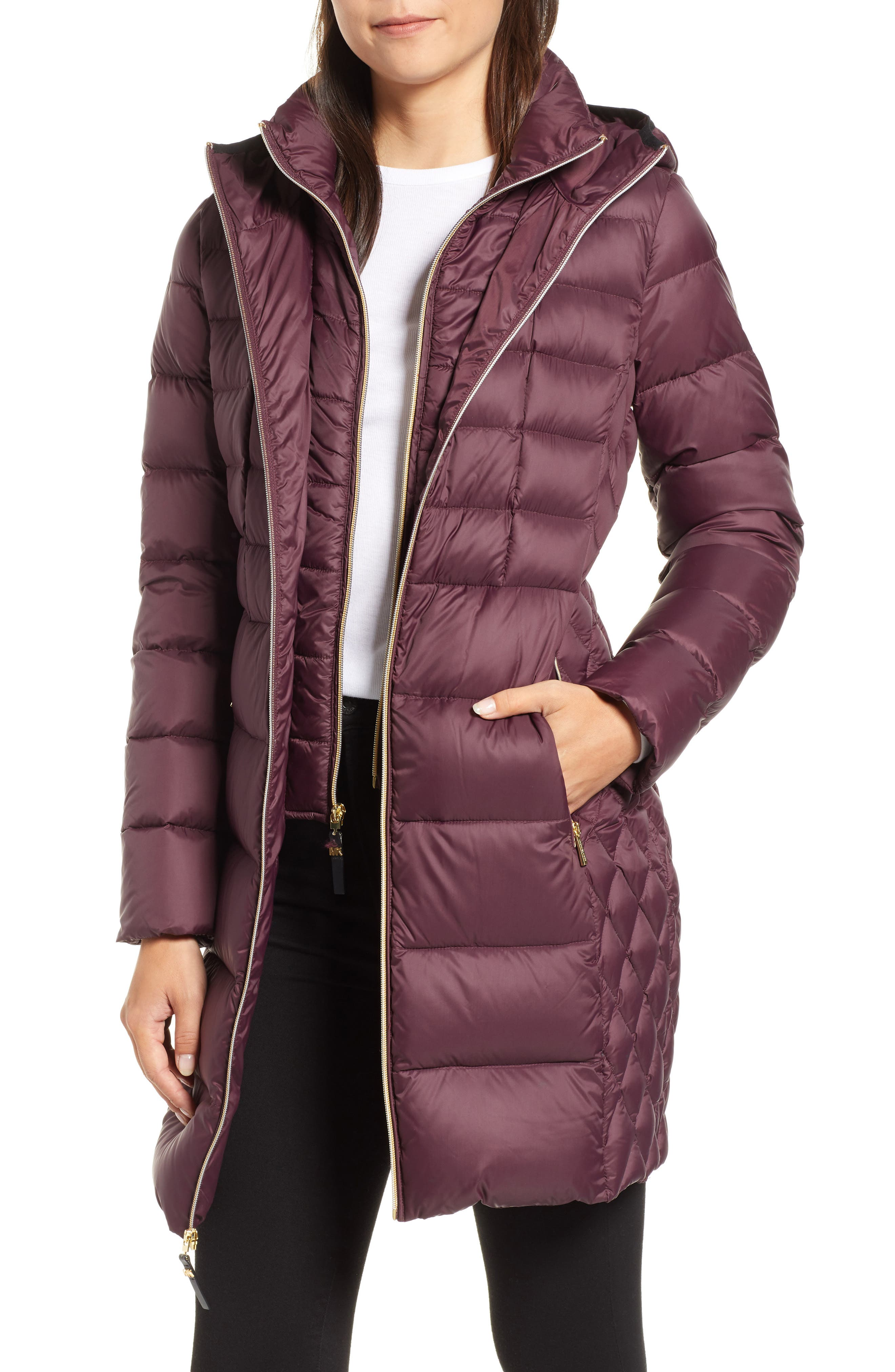 Packable Hooded Down Parka With Vest Inset by Michael Michael Kors
