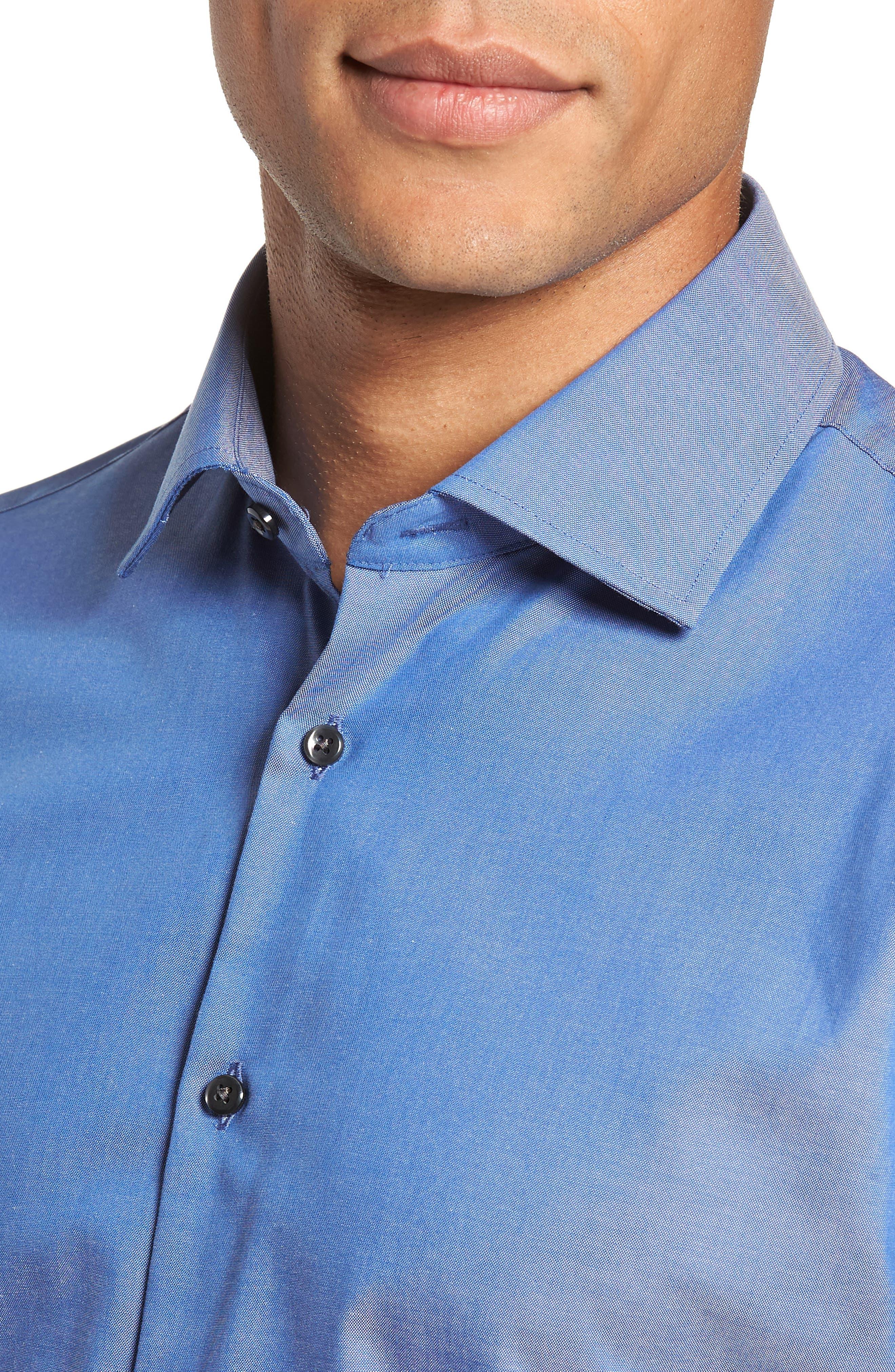Extra Trim Fit Non-Iron Solid Dress Shirt,                             Alternate thumbnail 2, color,                             BLUE DENIM