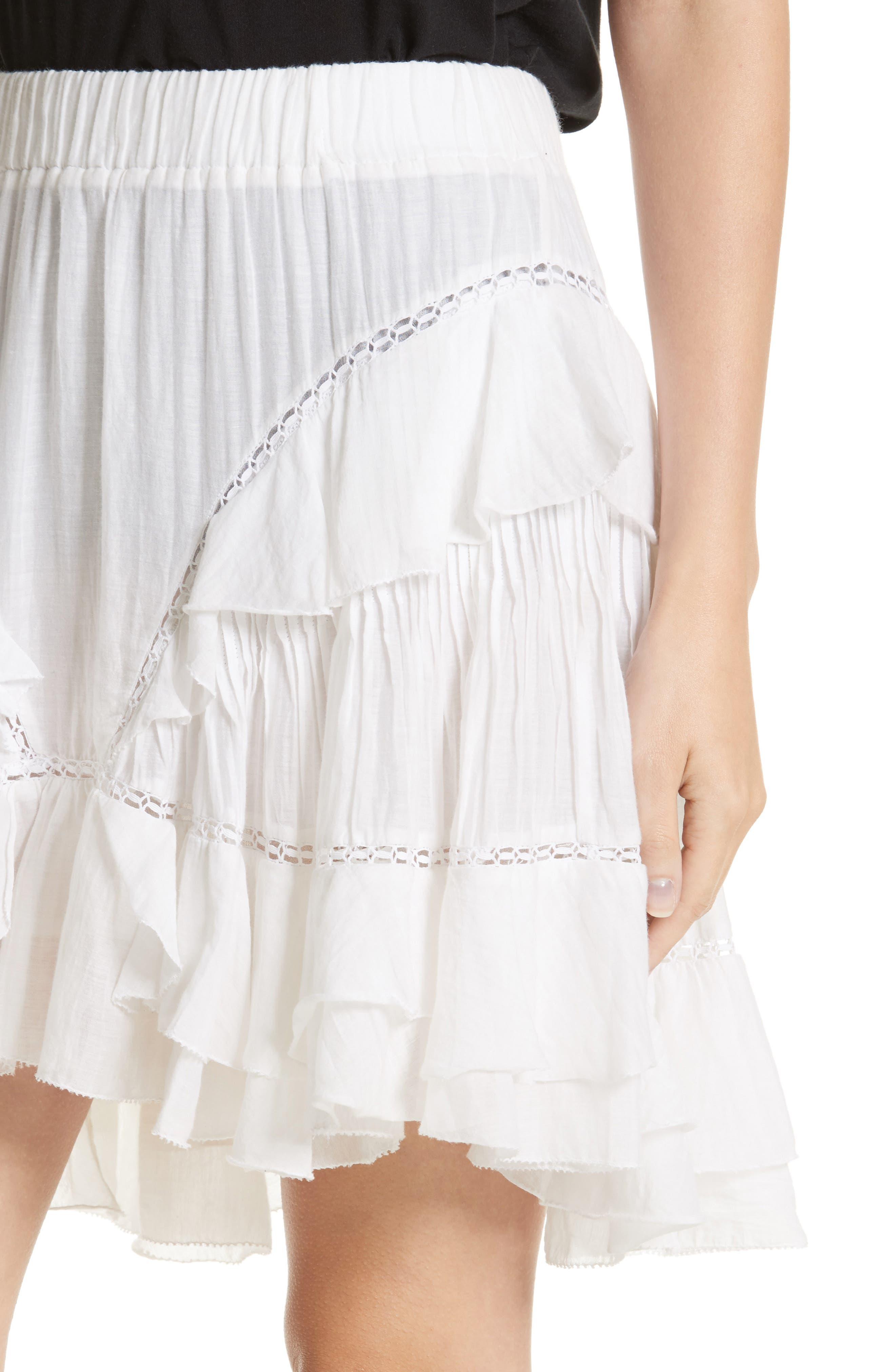 Isabel Marant Étoile Varese Ruffle Skirt,                             Alternate thumbnail 4, color,                             100