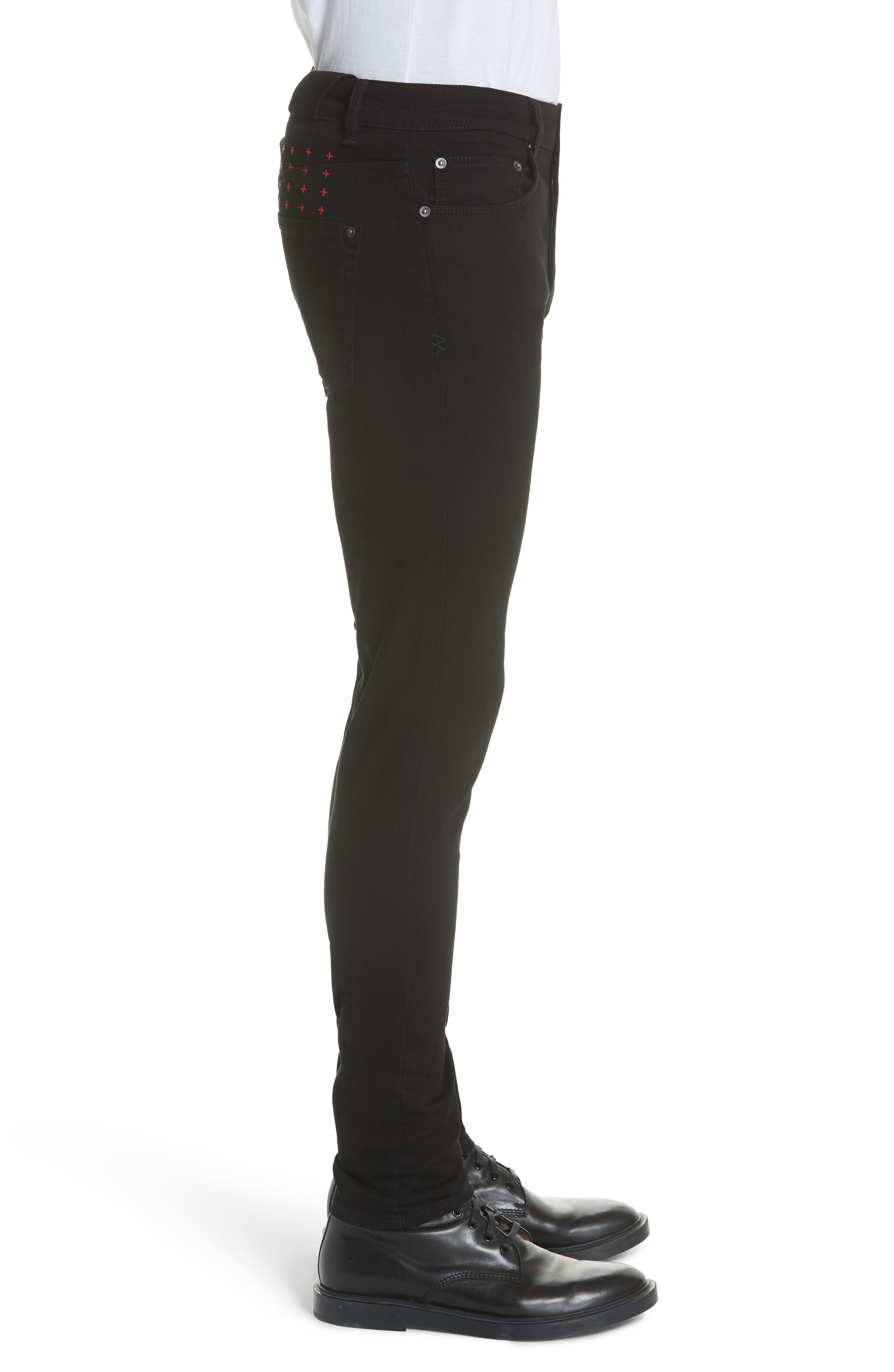 Chitch Laid Skinny Fit Jeans,                             Alternate thumbnail 3, color,                             BLACK