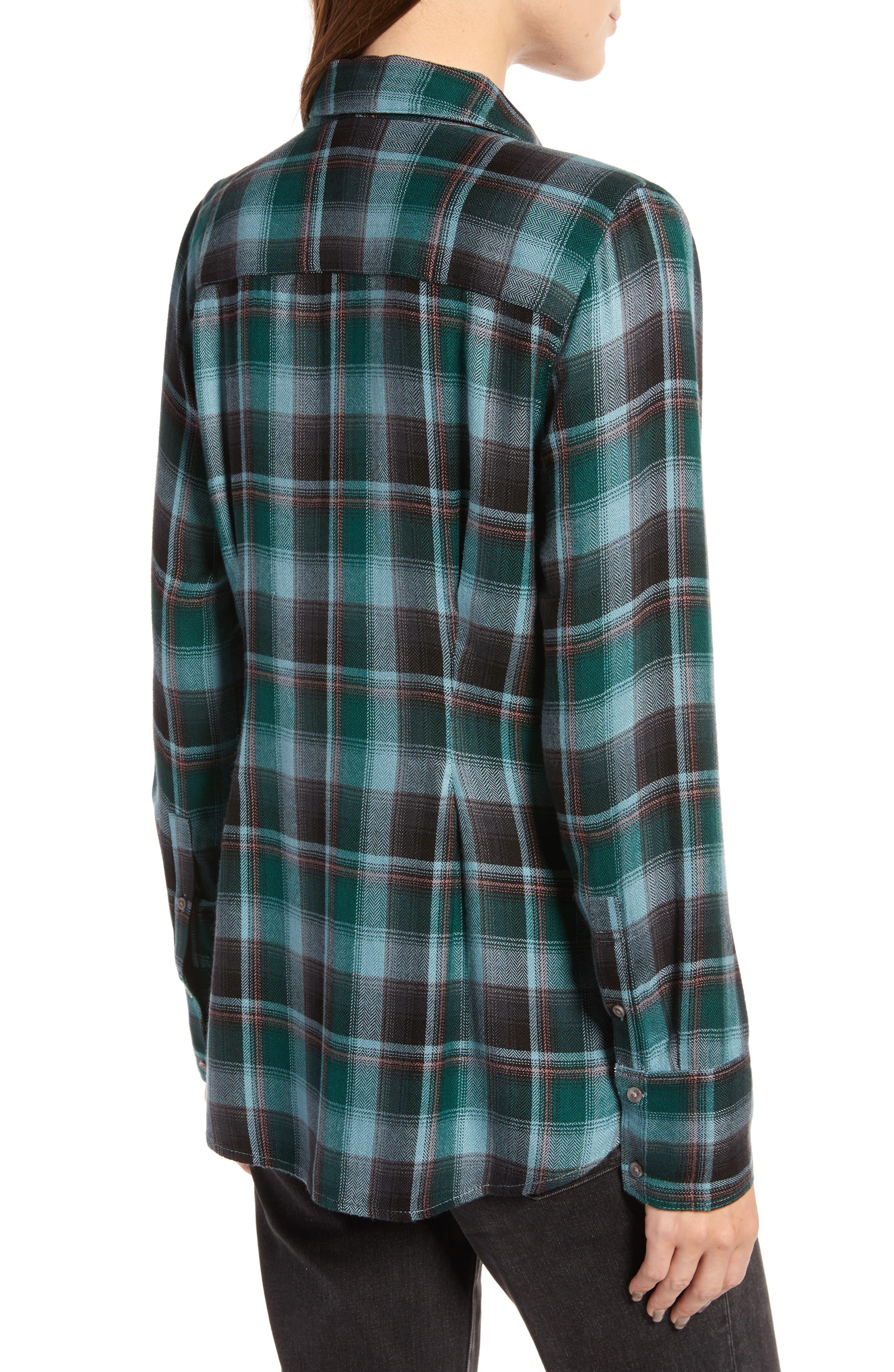 Plaid Corset Shirt,                             Alternate thumbnail 2, color,                             BLUE SMOKE BLANKET CHECK