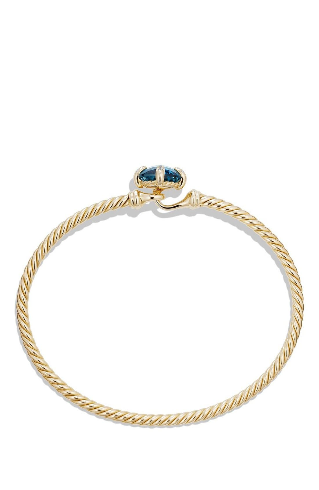 'Châtelaine' Bracelet in 18K Gold with Diamonds,                             Alternate thumbnail 2, color,                             HAMPTON BLUE TOPAZ