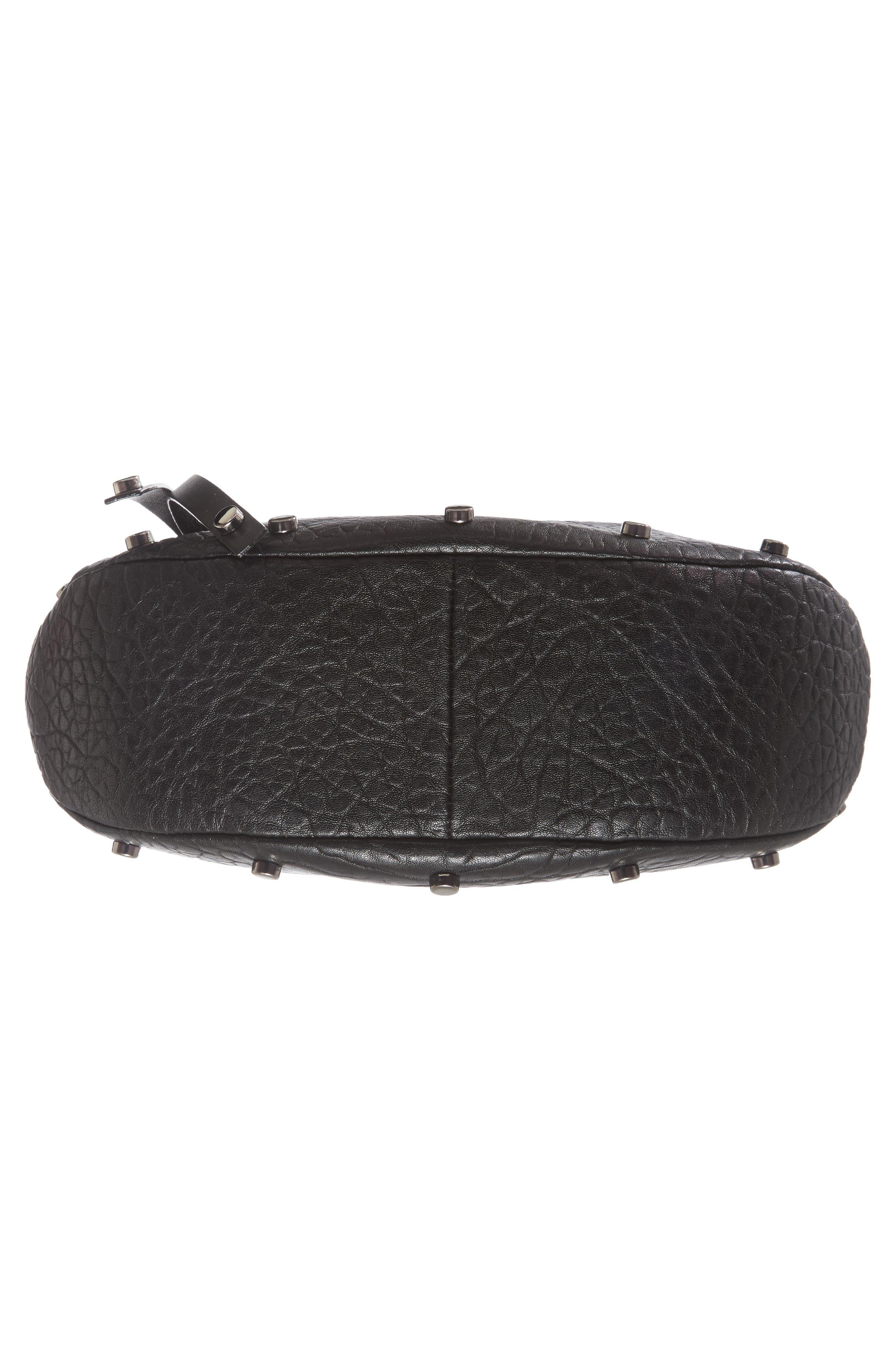 Artie Studded Leather Hobo Bag,                             Alternate thumbnail 6, color,                             001