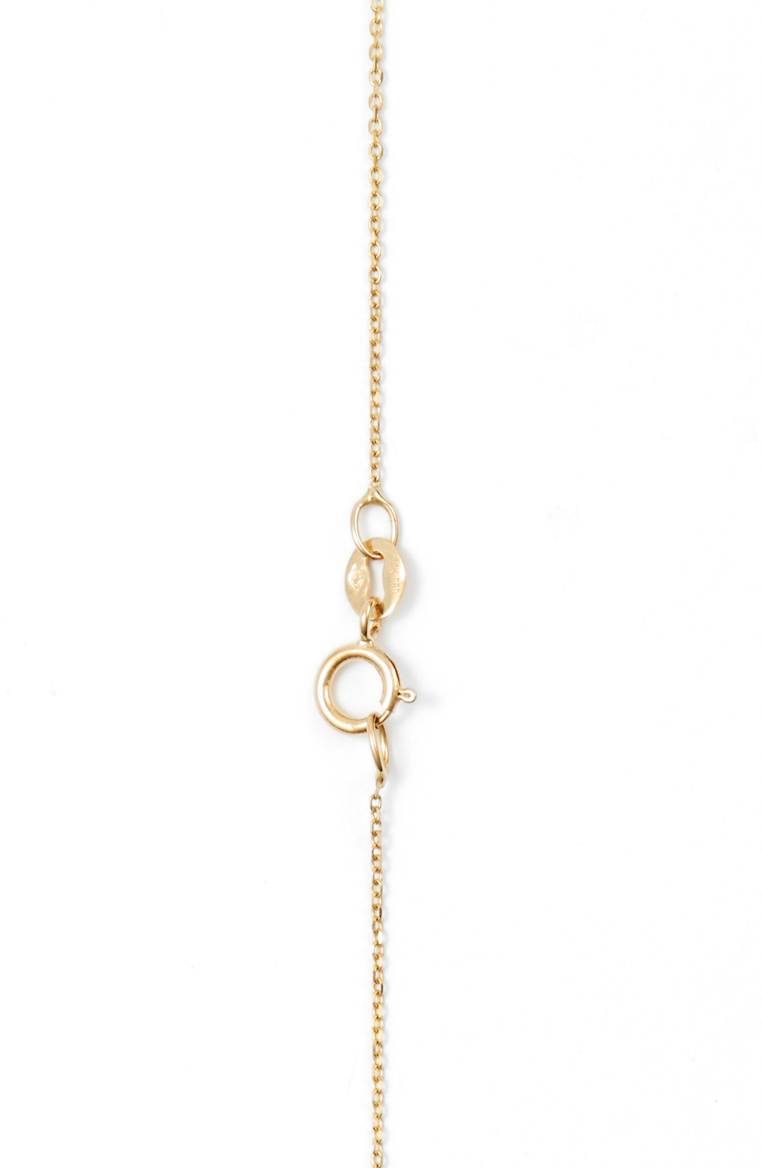 'Lauren Joy' Diamond Disc Pendant Necklace,                             Alternate thumbnail 3, color,                             YELLOW GOLD